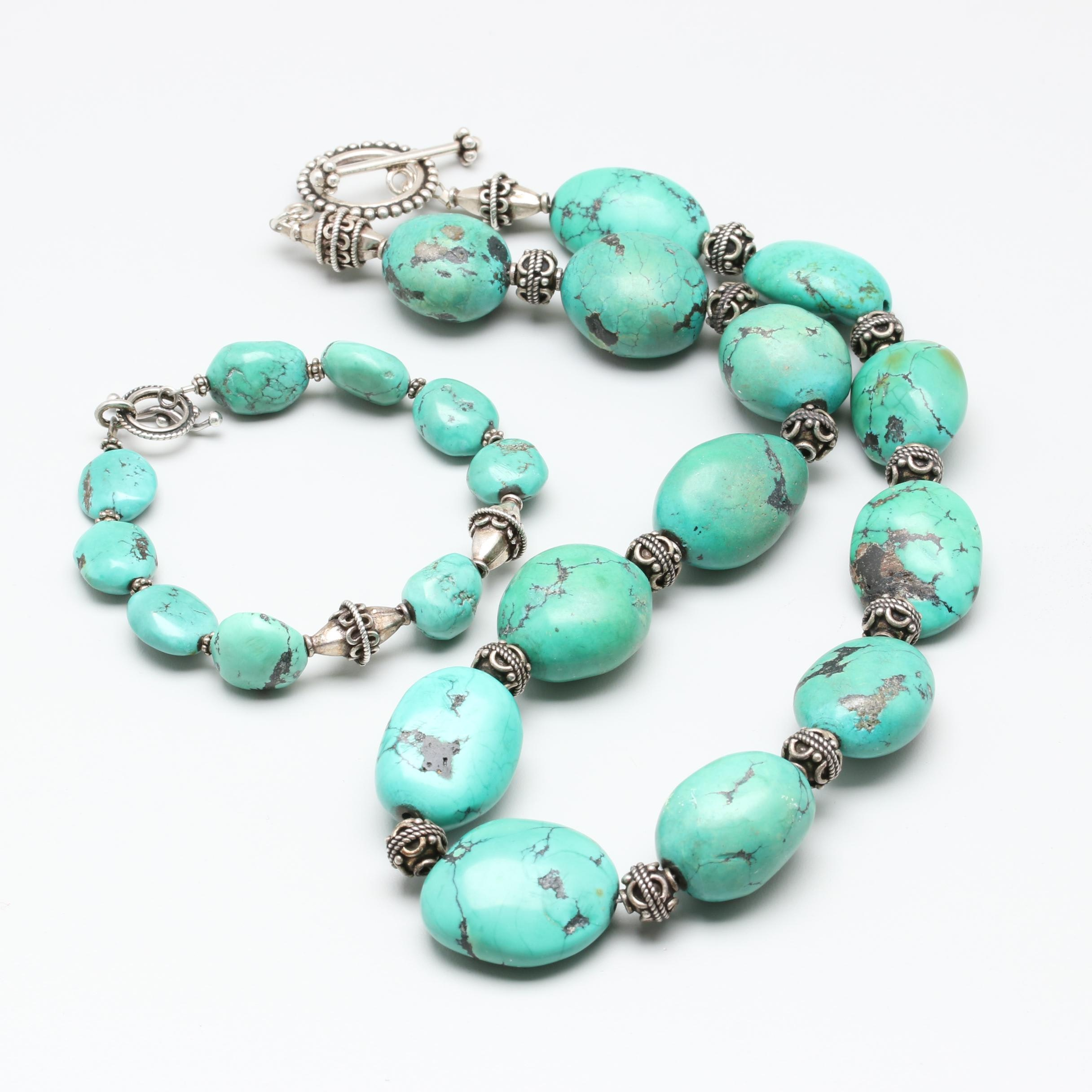 Sterling Silver Magnesite Necklace and Bracelet Including Bali Style Beads