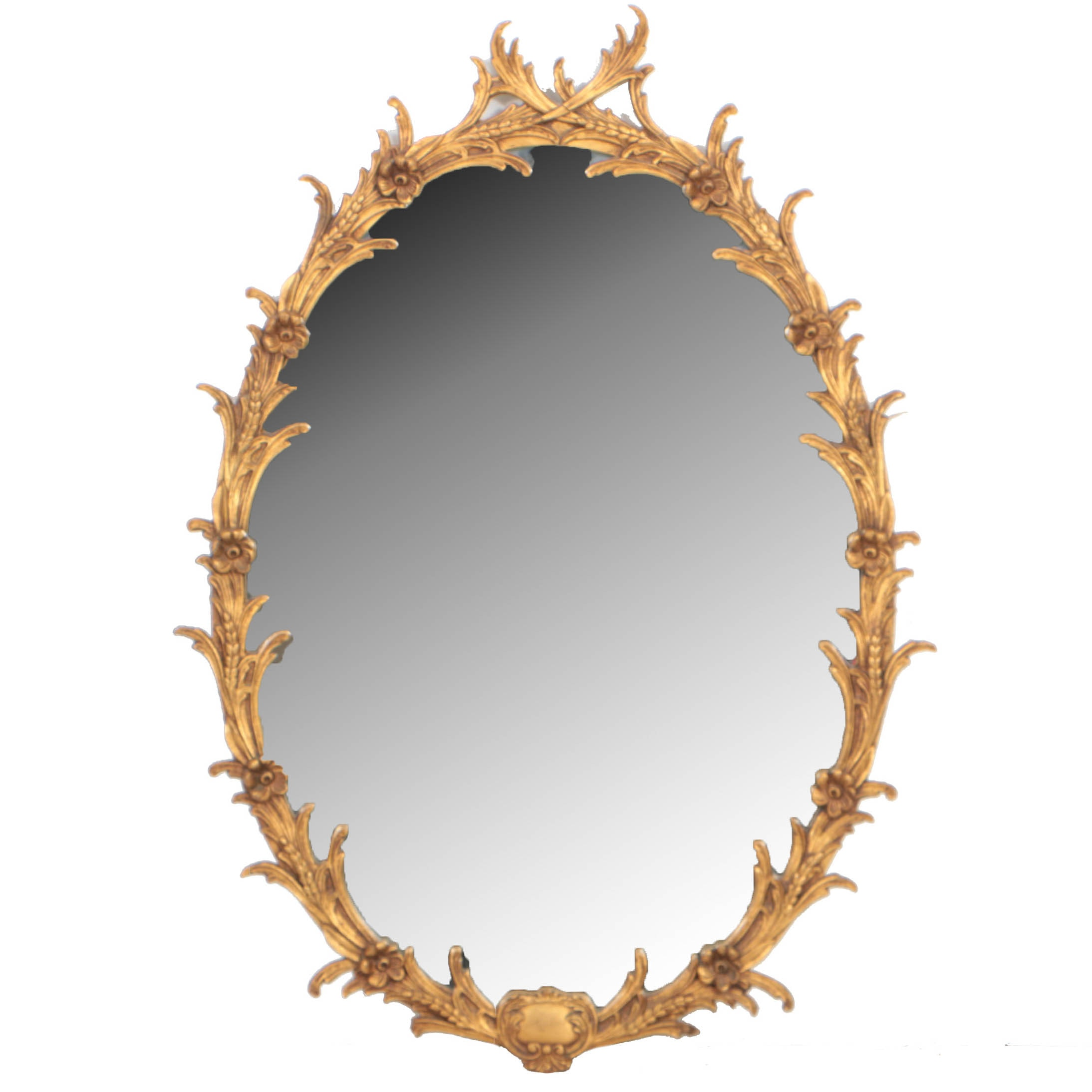 George III Style Floral-Carved Giltwood Mirror, 20th Century