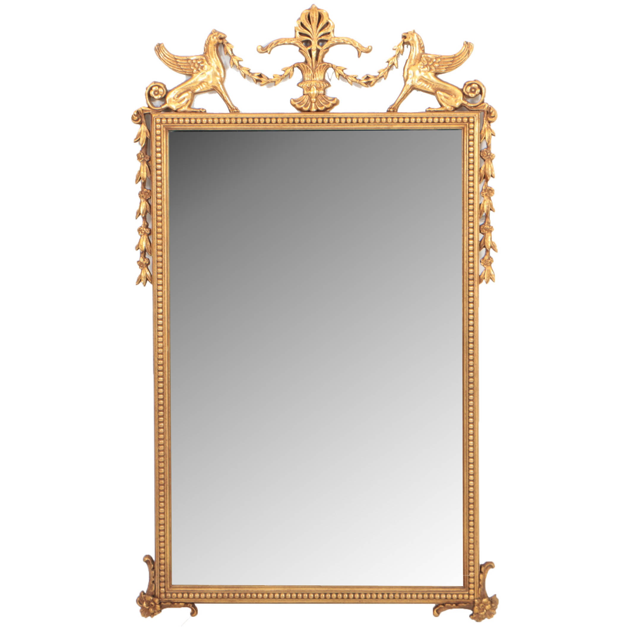Regency Style Giltwood Mirror with Griffin Cresting, 20th Century