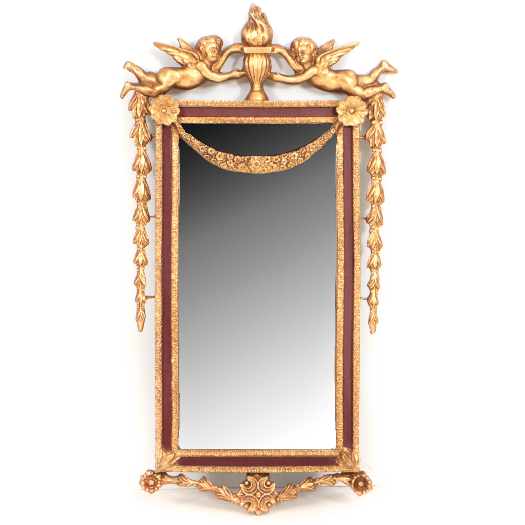 Red-Painted and Parcel-Gilt Composition Mirror, 20th Century