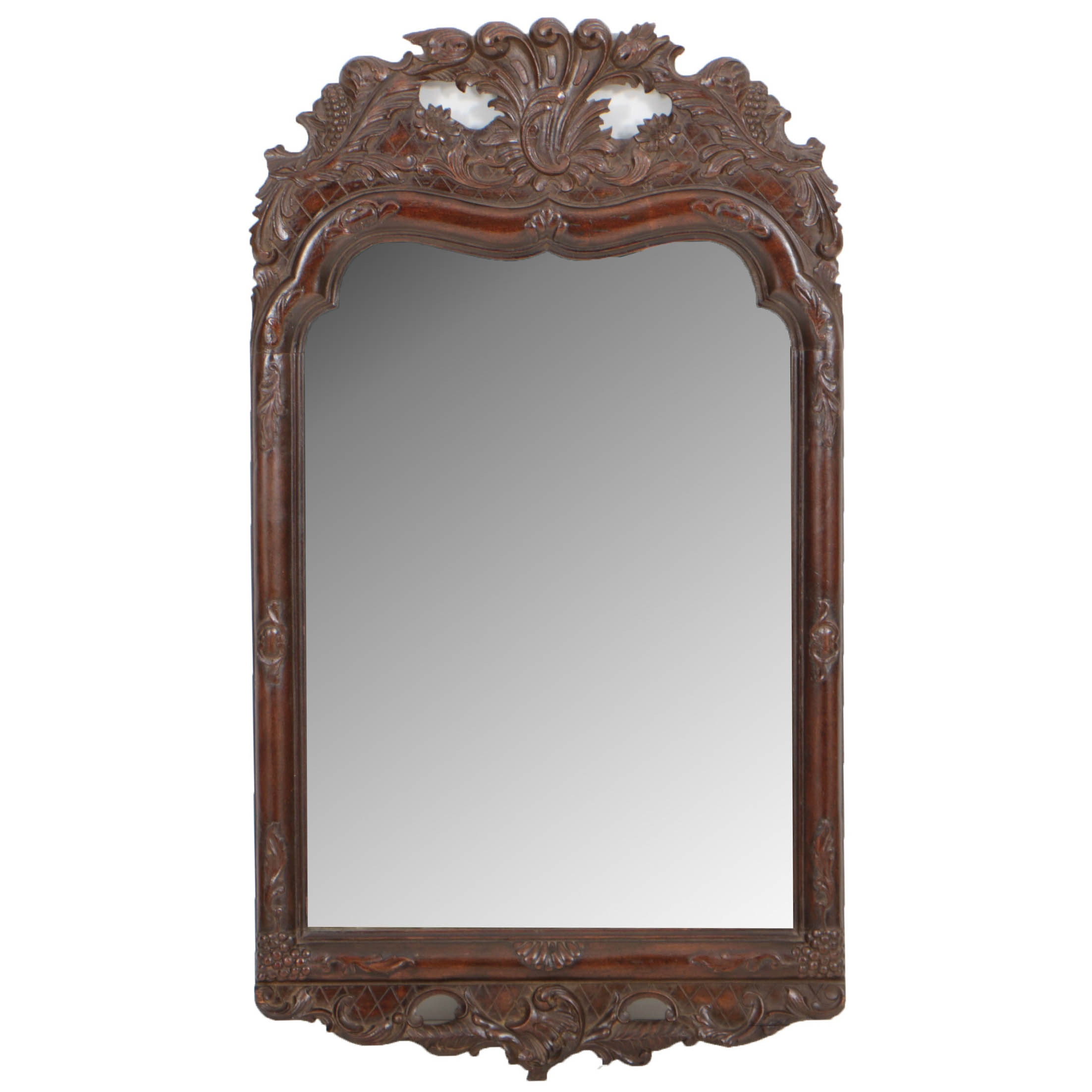French Provincial Style Rocaille-Carved Mirror, 20th Century