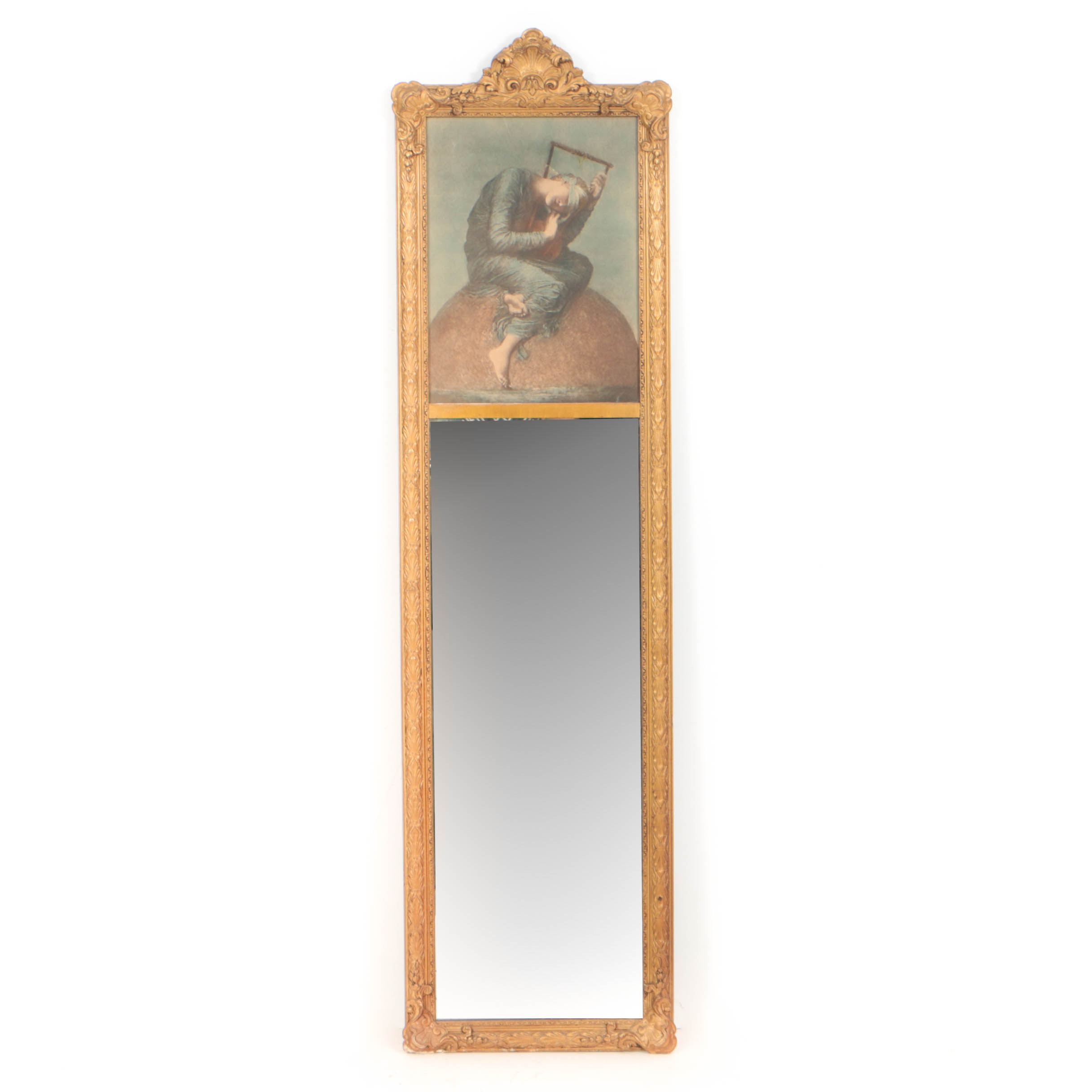 Victorian Gilt Composition Trumeau Mirror, Late 19th Century