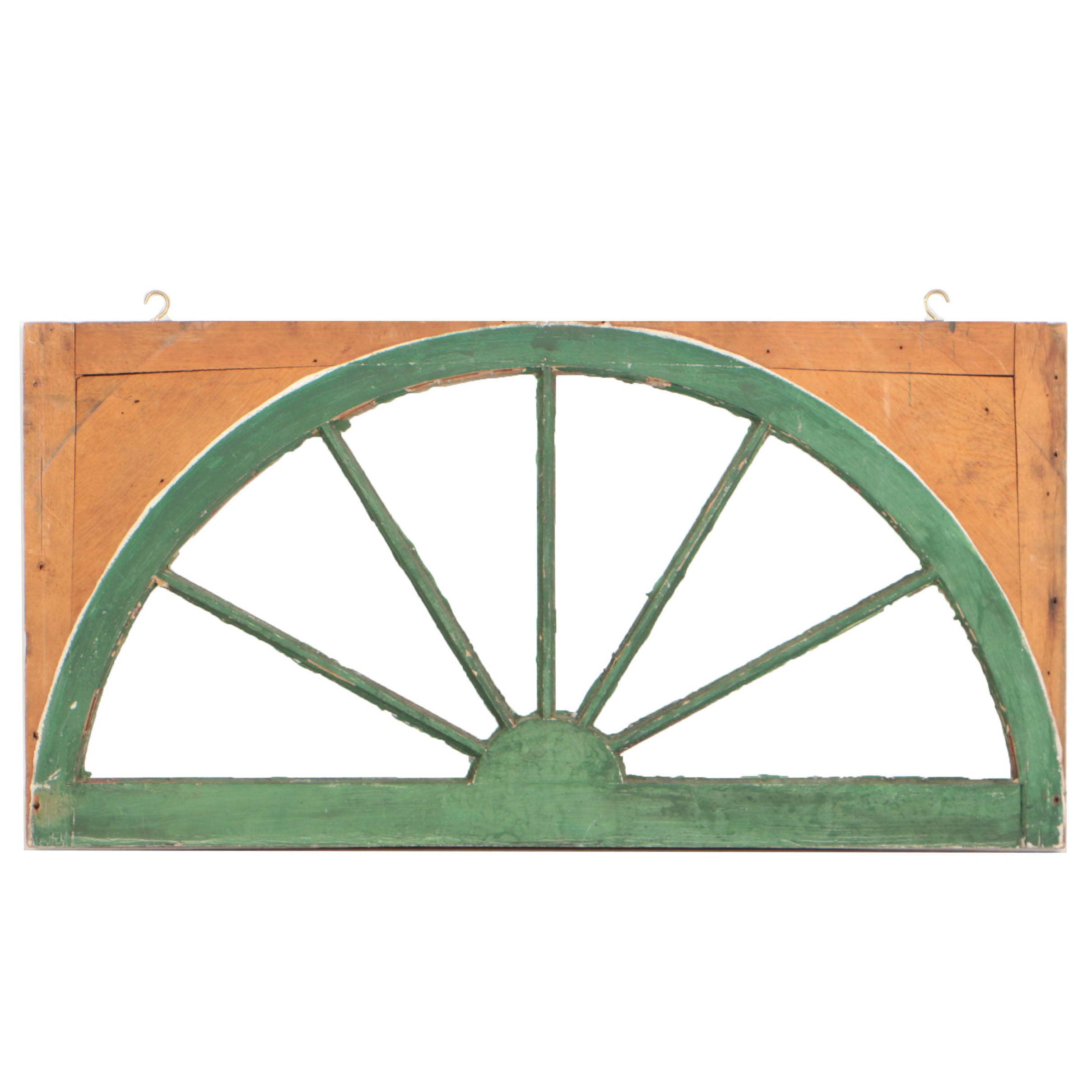 Green Painted Pine Sunburst Transom Window, 20th Century
