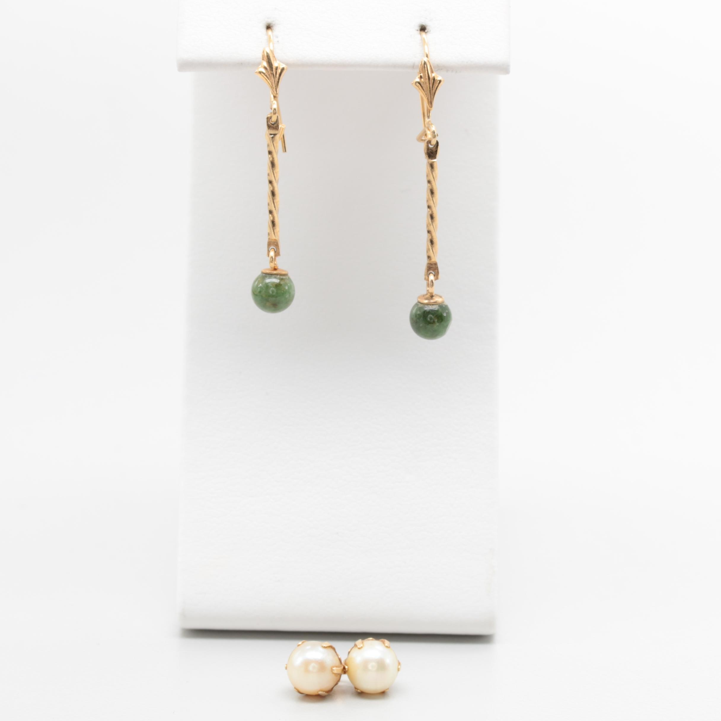 14K Yellow Gold Nephrite and Cultured Pearl Earrings
