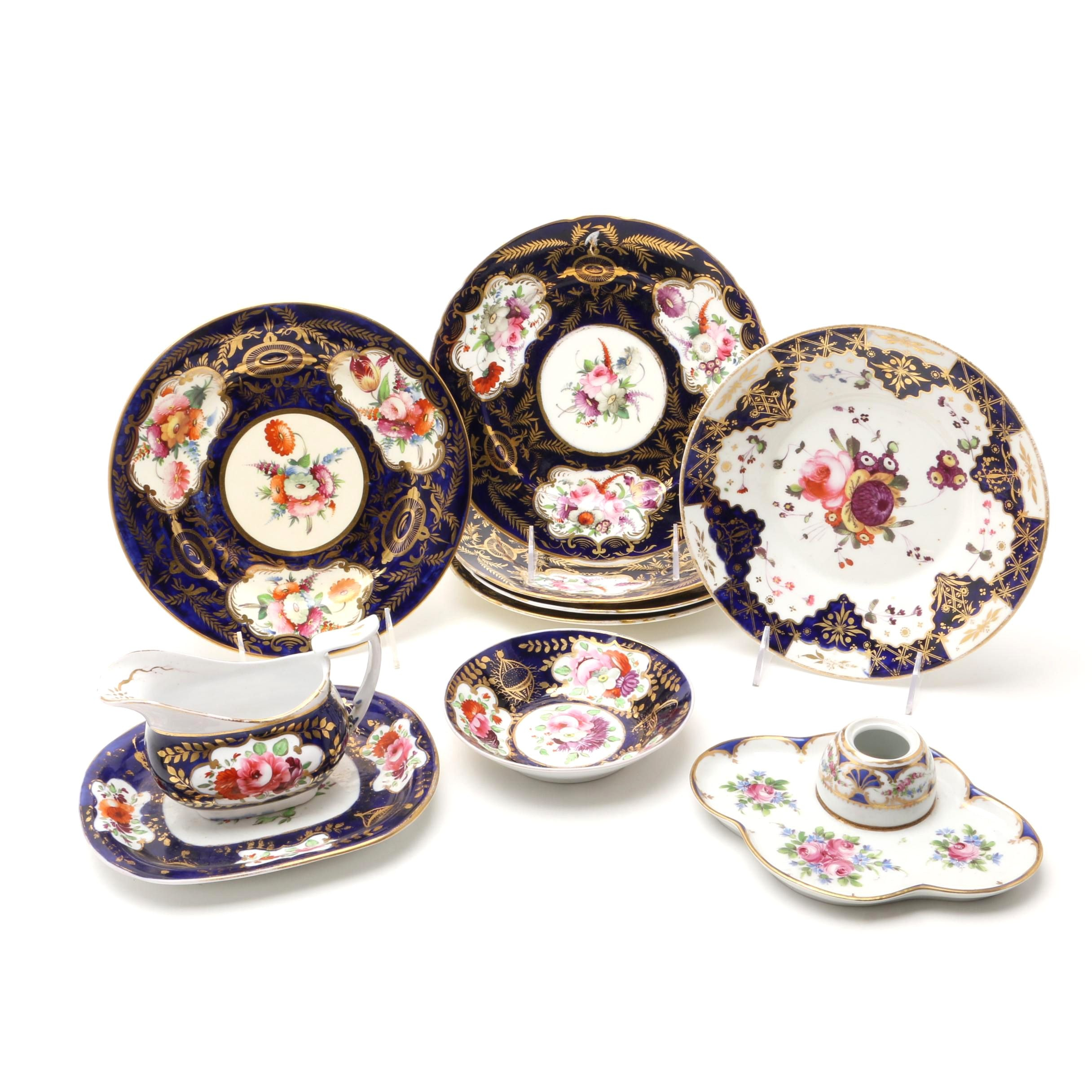 Collection of English and French Porcelain Tableware, 19th/20th Century