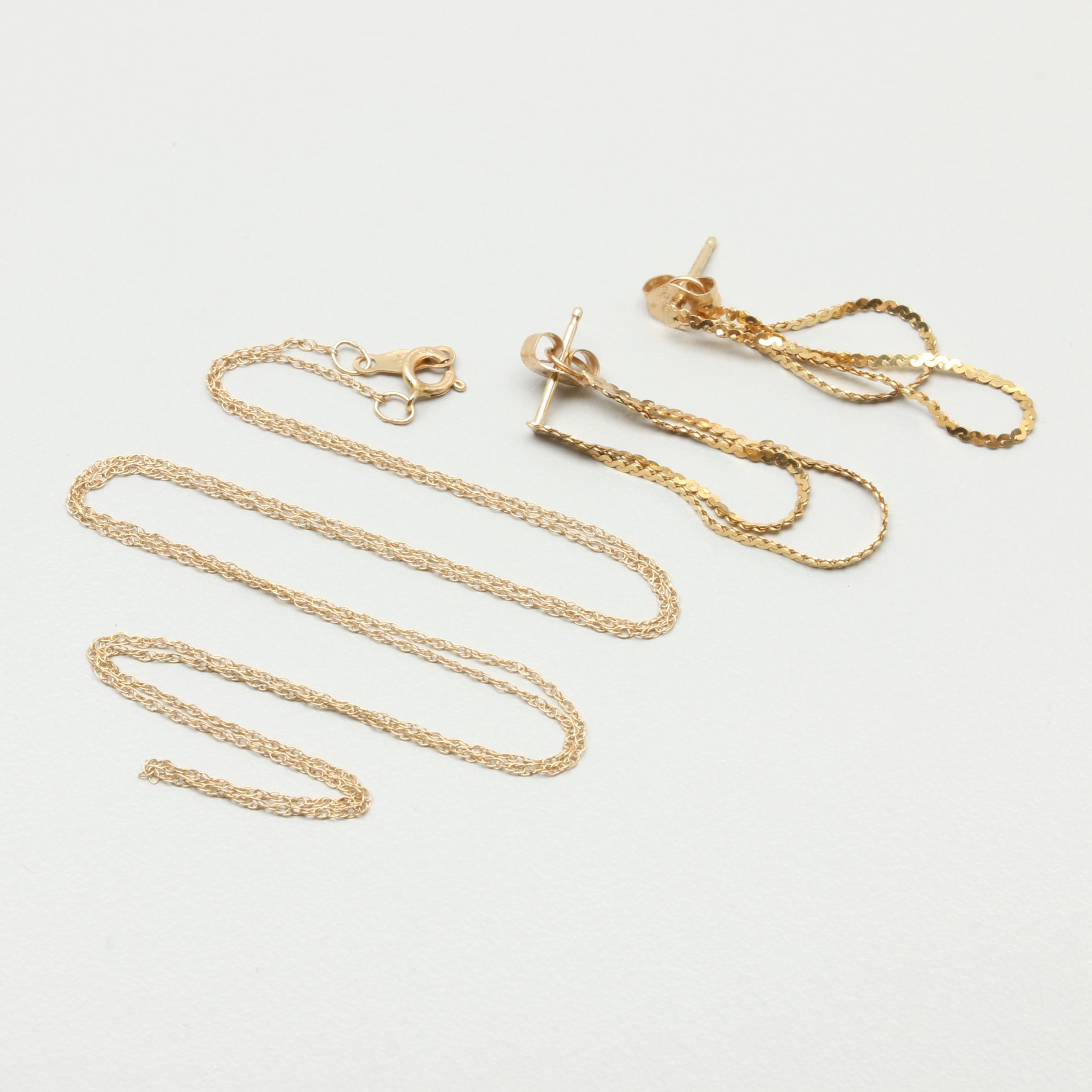 14K Yellow Gold Chain Necklace and Earrings.