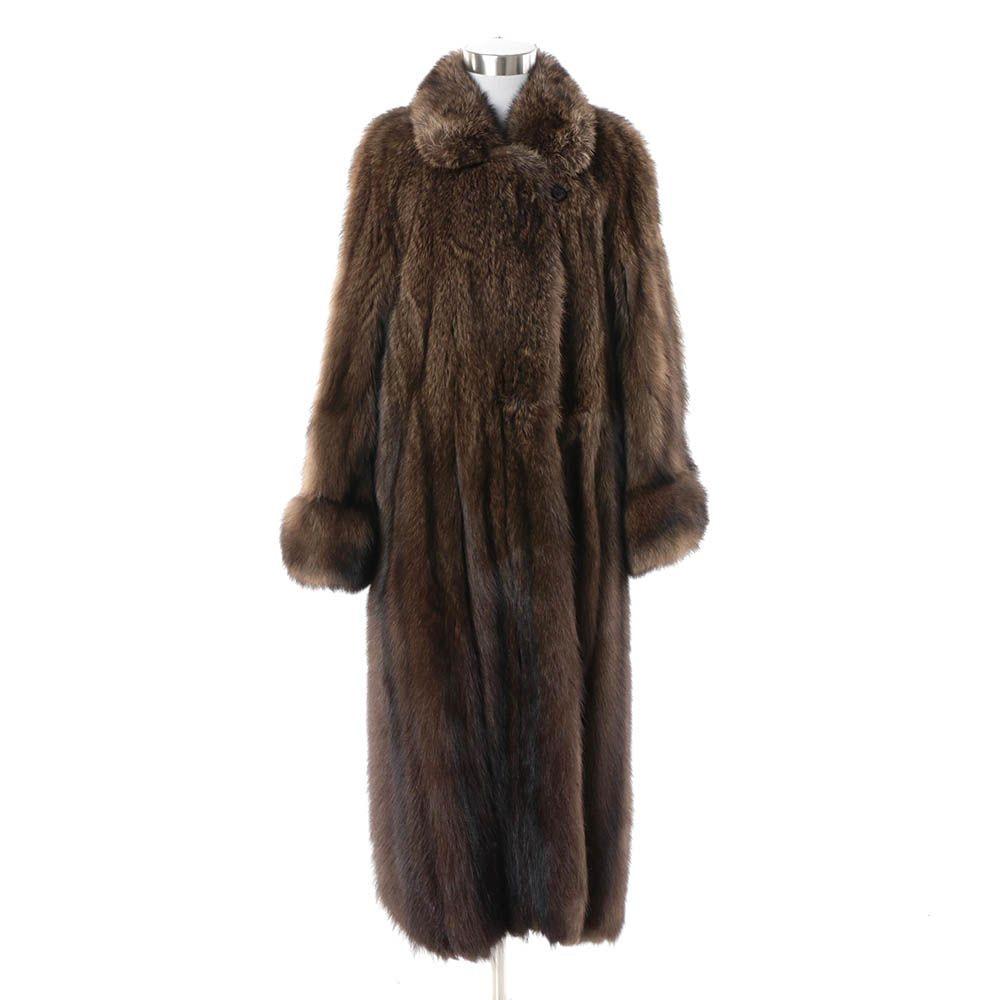 Women's Vintage Leonard Furs Brown Raccoon Fur Full-Length Coat