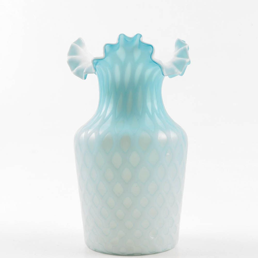 Victorian Blue Satin Glass Flared vase, Late 19th Century