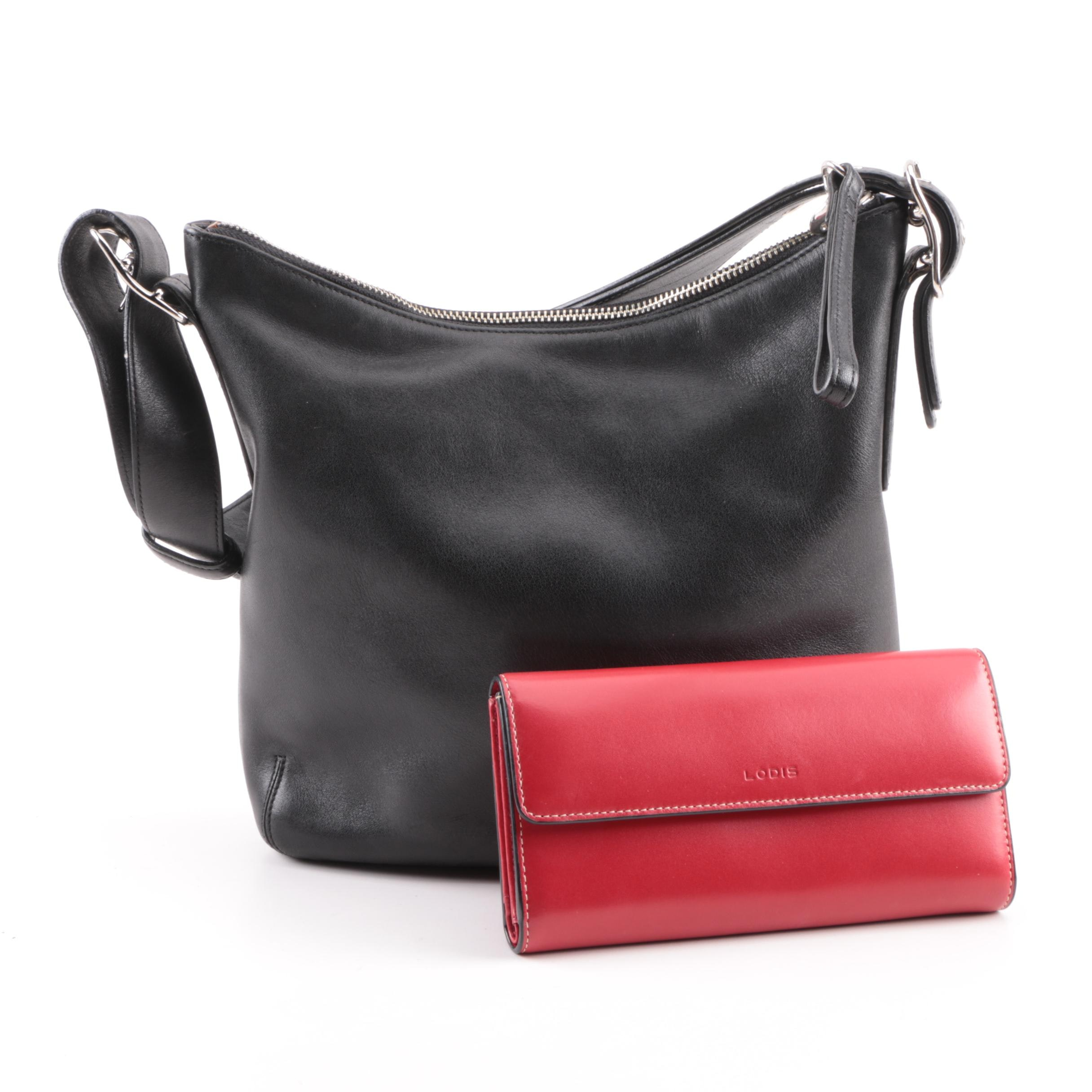 Coach Legacy Slim Black Leather Duffle with Lodis Red Leather Wallet
