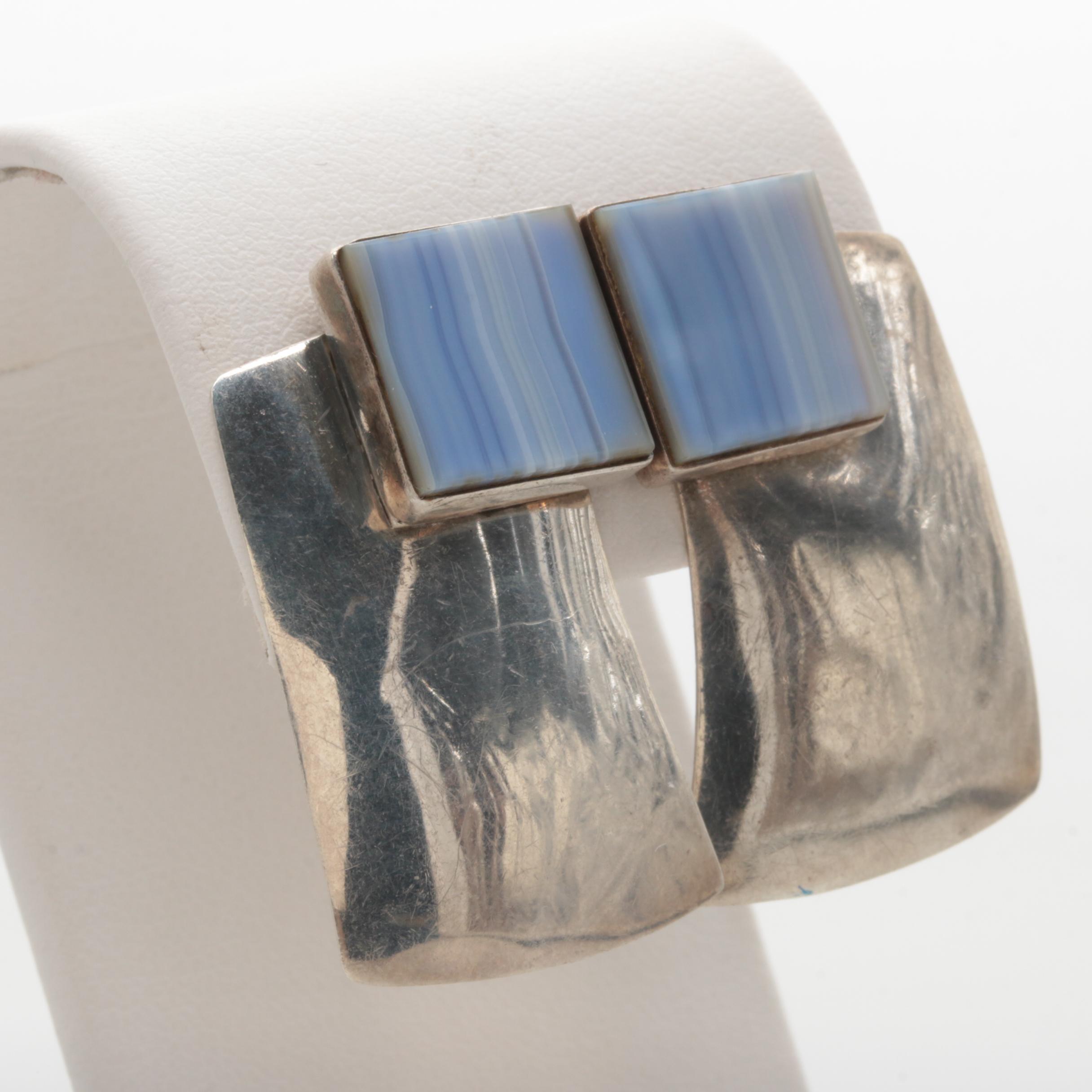Jim Hayes Sterling Silver Agate Earrings