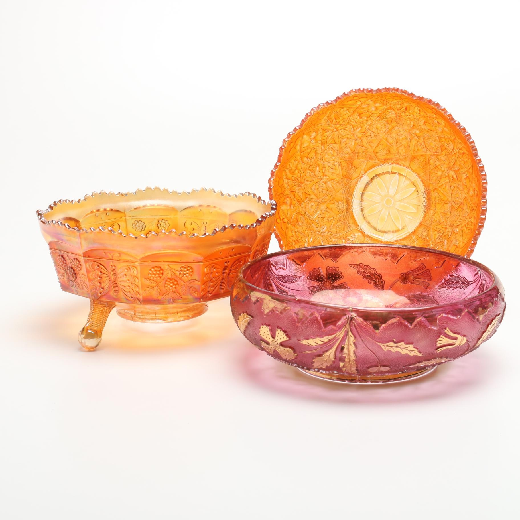Three Carnival Glass Berry Bowls