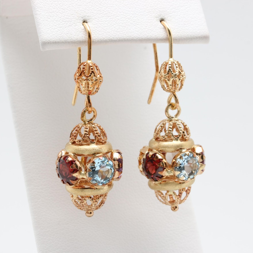 Italian 18k Yellow Gold Gemstone Earrings