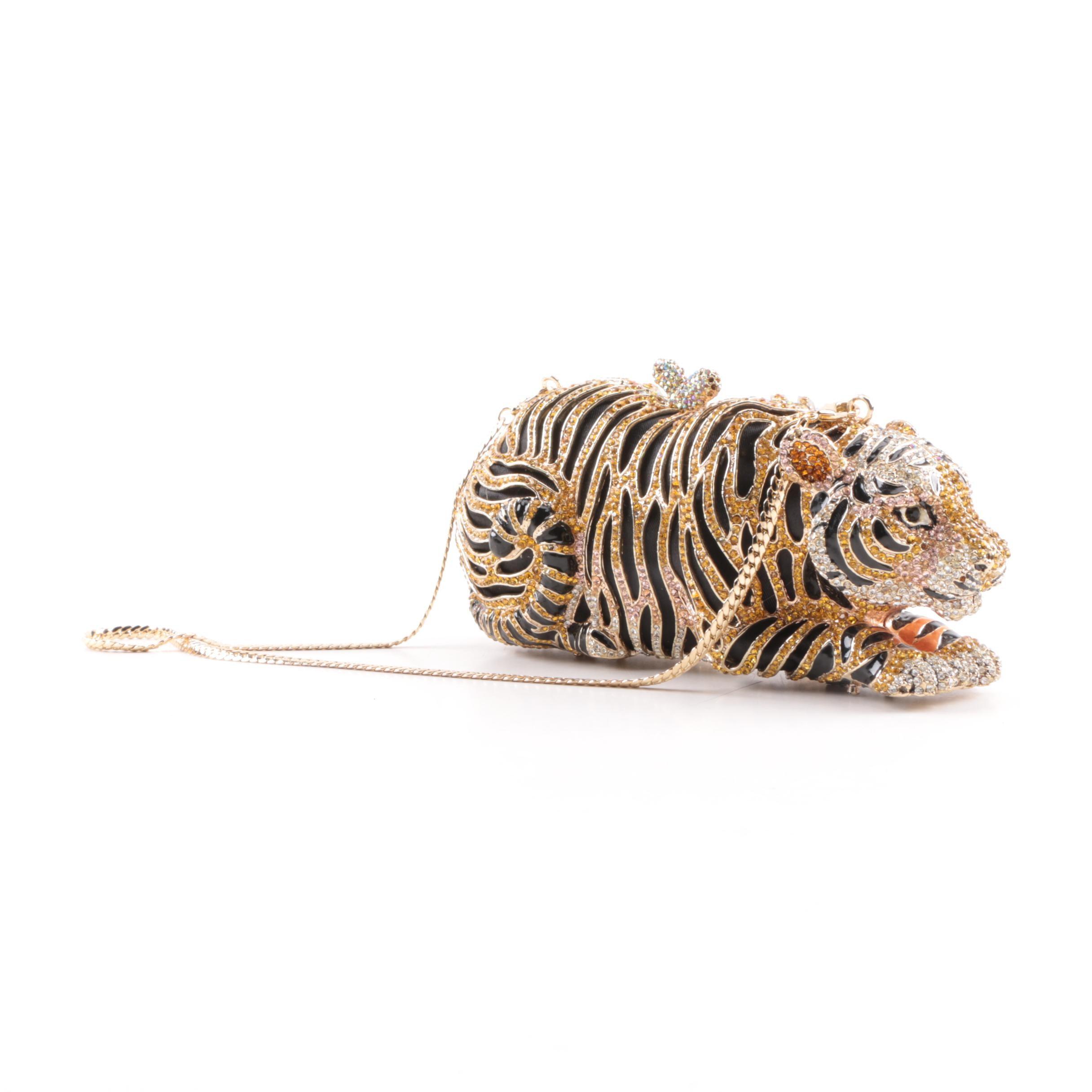 Rhinestone and Enameled Tiger Clutch Purse