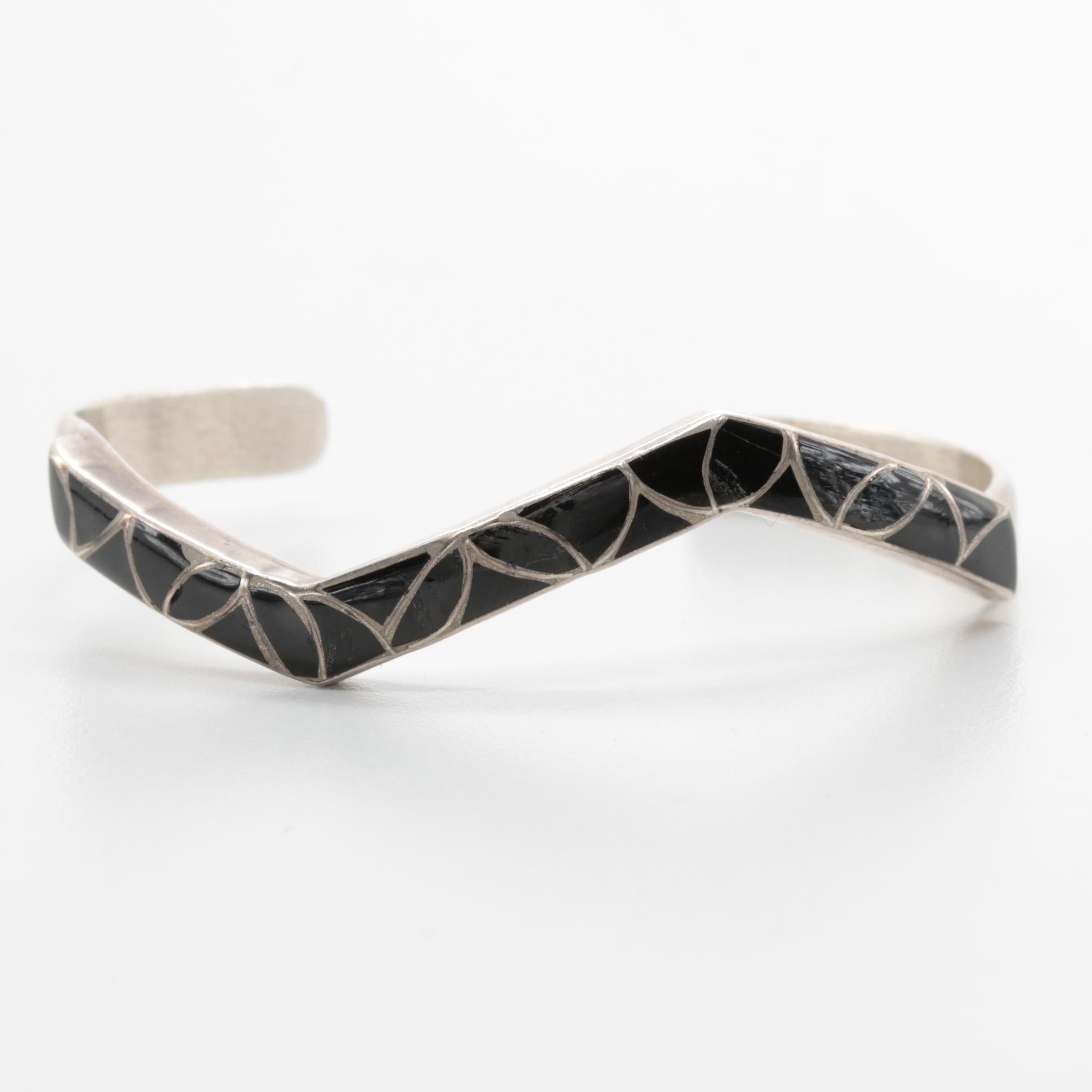 Sibert and Janita Kallestewa Zuni Sterling Silver Black Enamel Cuff Bracelet