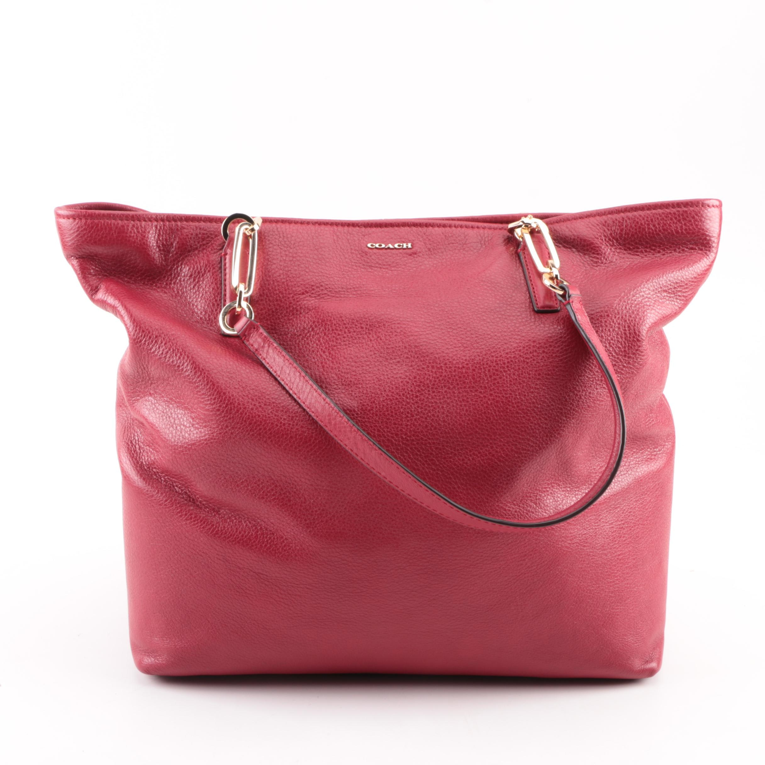 Coach Madison Red Leather North/South Tote Bag