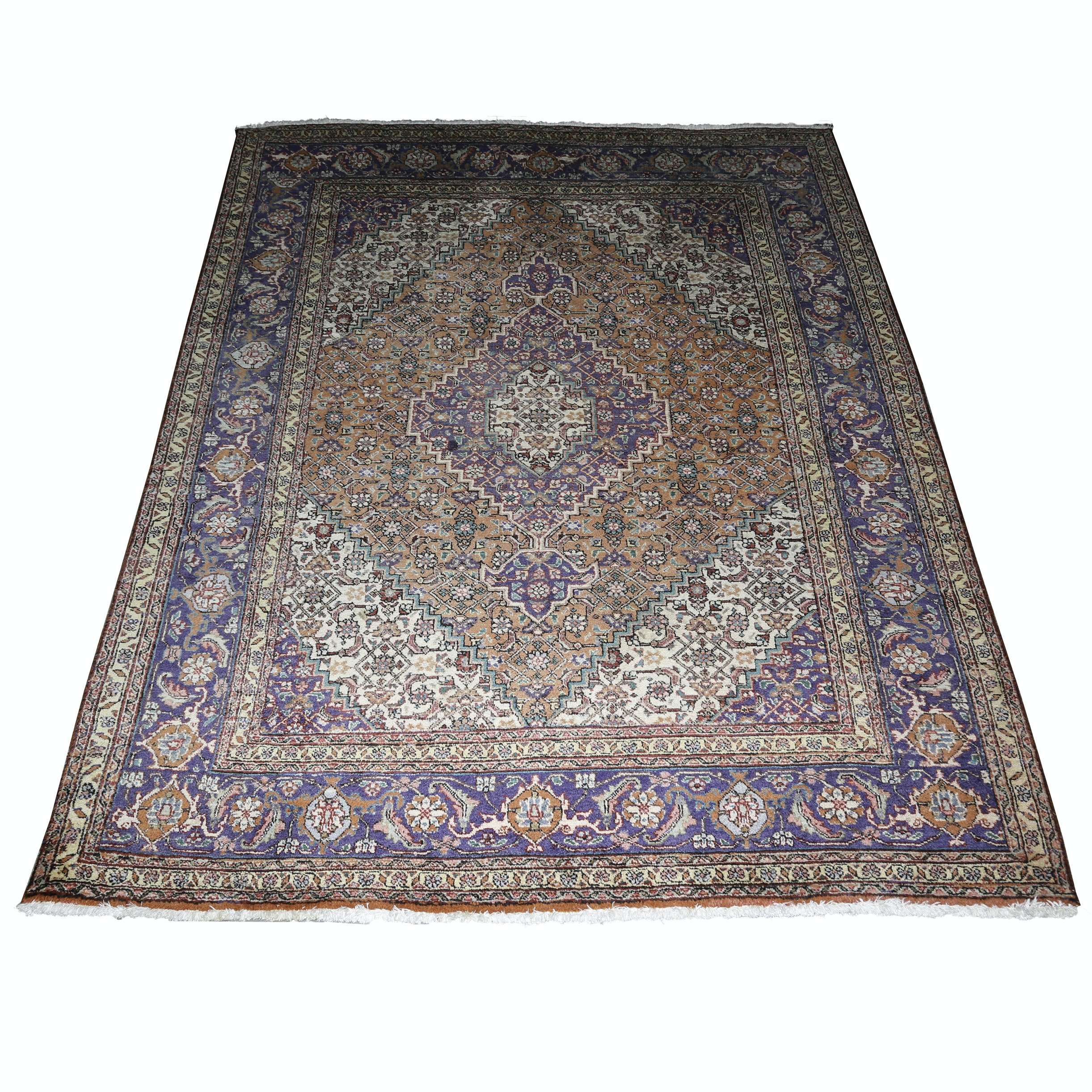 Hand-Knotted Indo-Persian Bijar Wool Area Rug