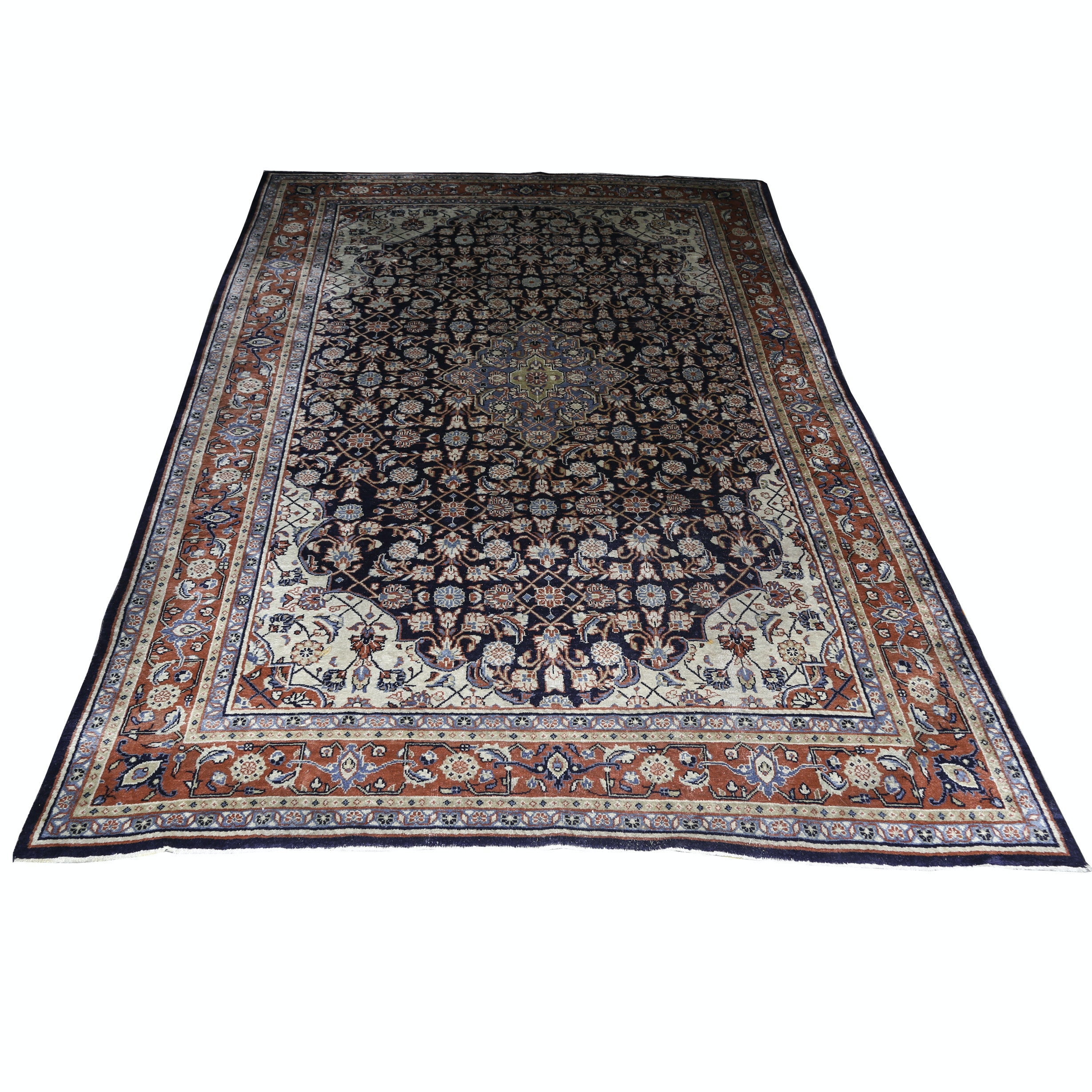 Hand-Knotted Indo-Persian Herati Wool Area Rug