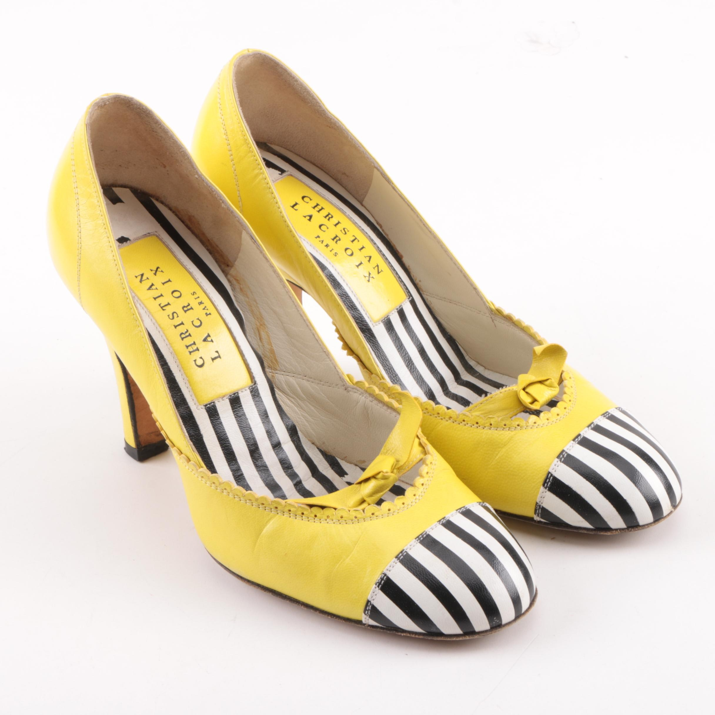 Vintage Christian Lacroix of Paris Yellow and Black and White Striped Pumps