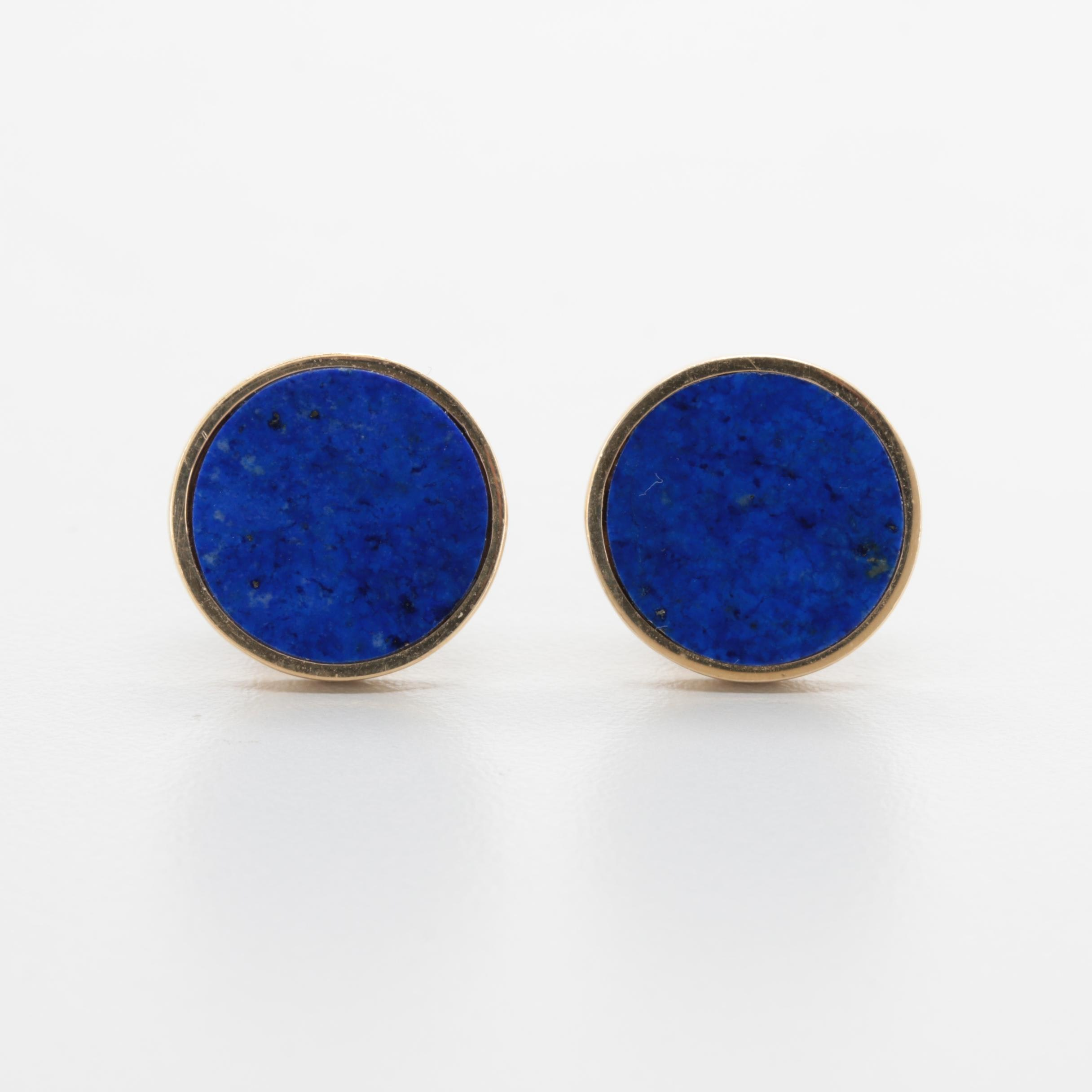14K Yellow Gold Lapis Lazuli Cufflinks
