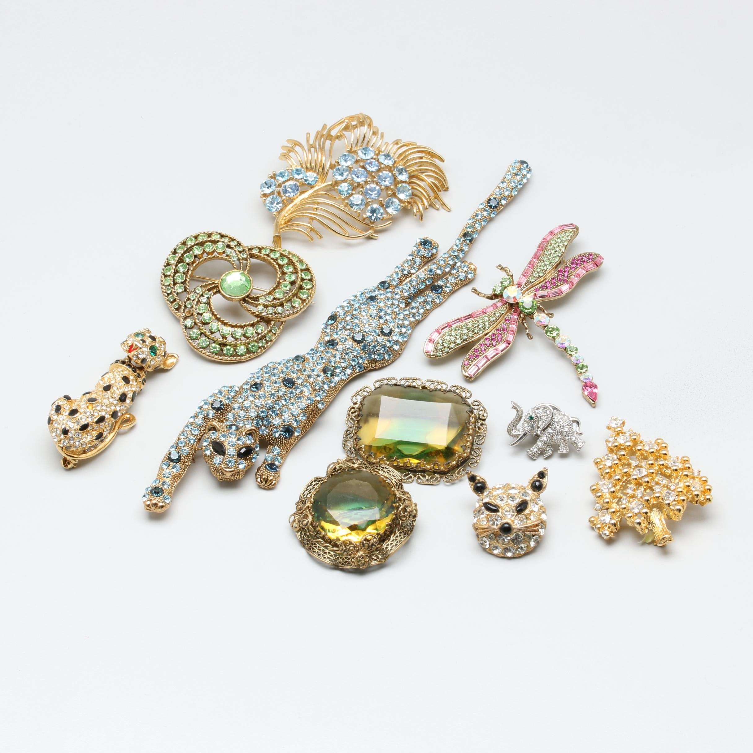 Animal Themed Brooch Collection Including Eisenberg Christmas Tree Brooch