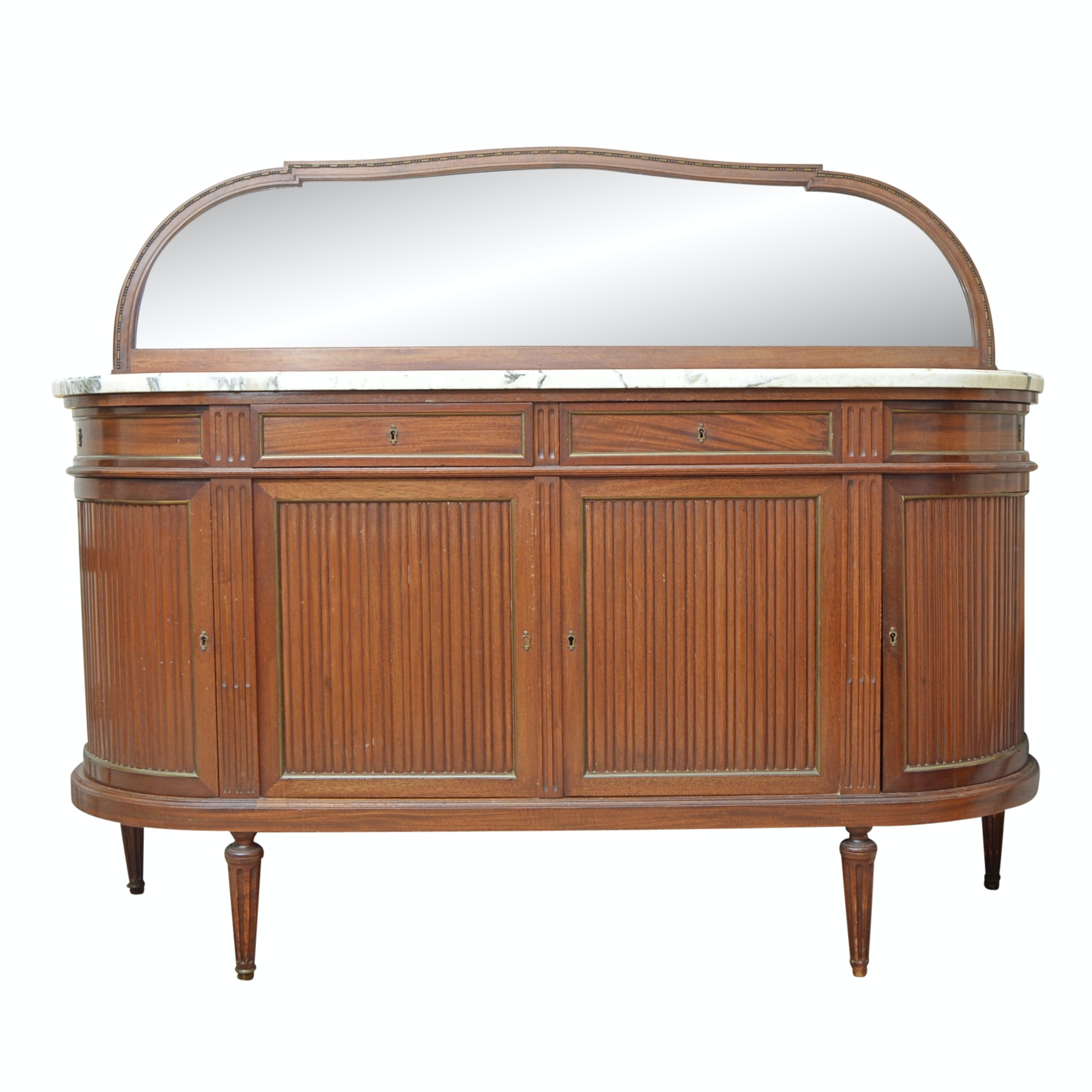Vintage Neoclassic Style Marble-Topped Mahogany Sideboard with Mirror