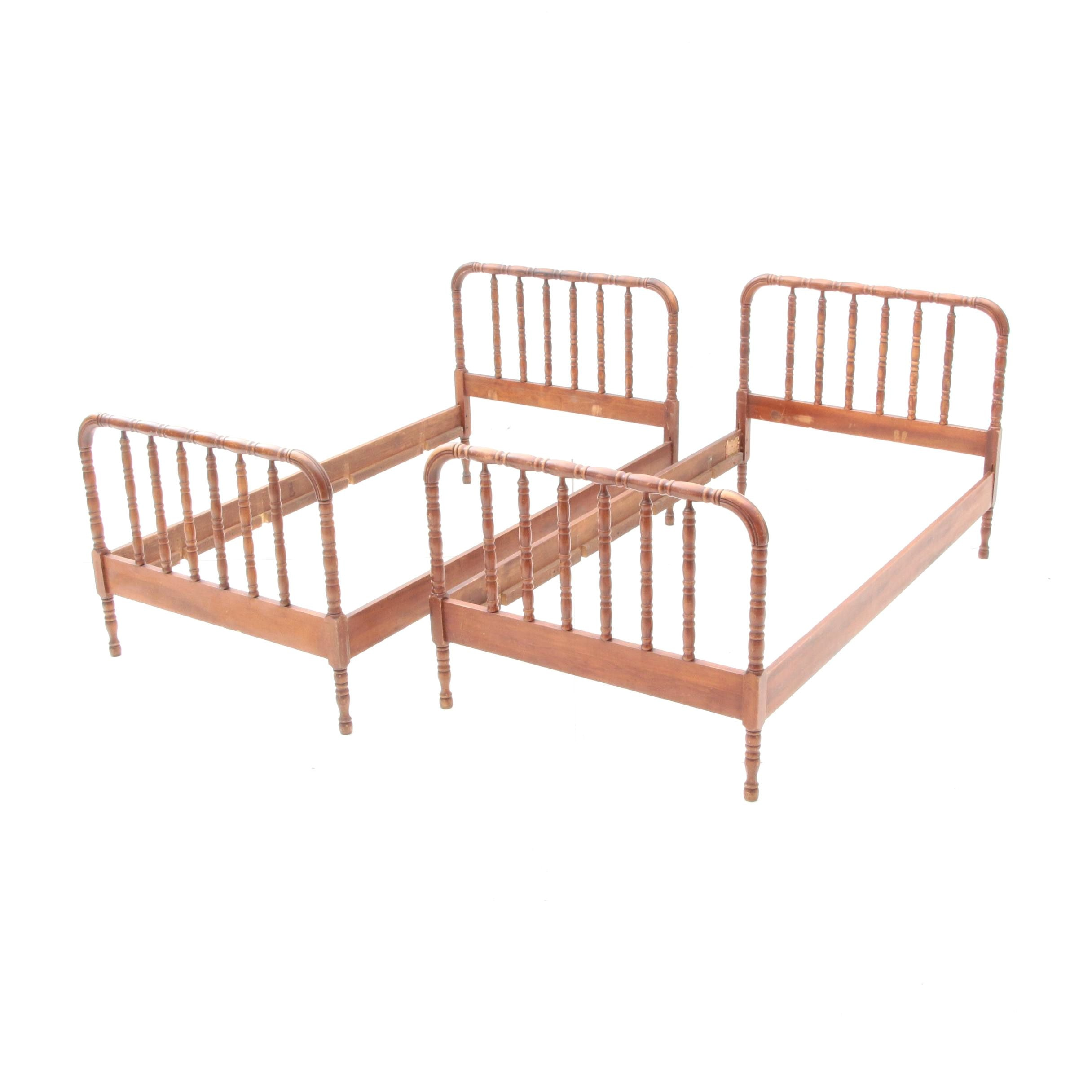 """Pair of """"Jenny Lind"""" Turned Twin Bed Frames"""