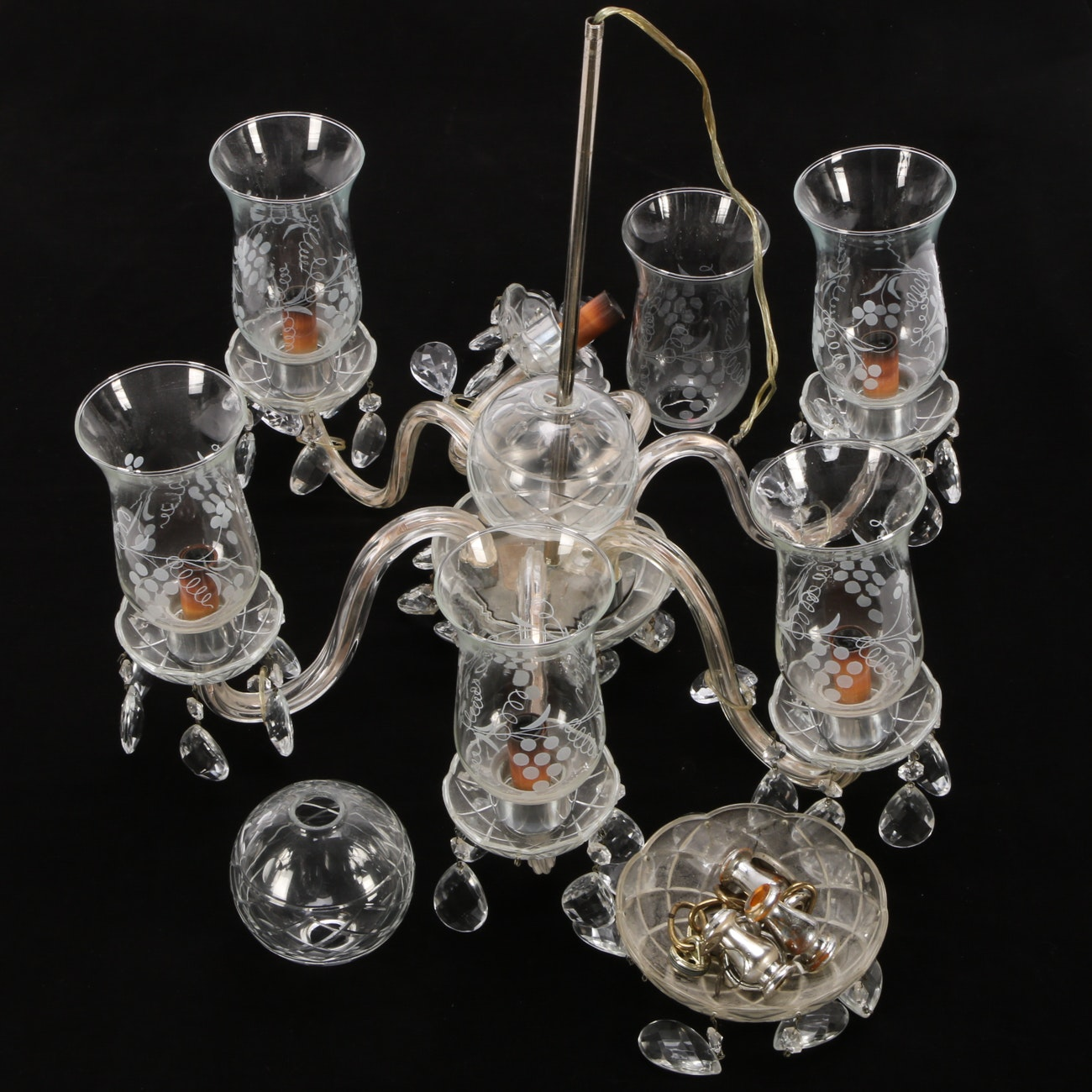 Vintage Six Arm Chandelier with Cut Glass Prisms and Etched Glass Shades