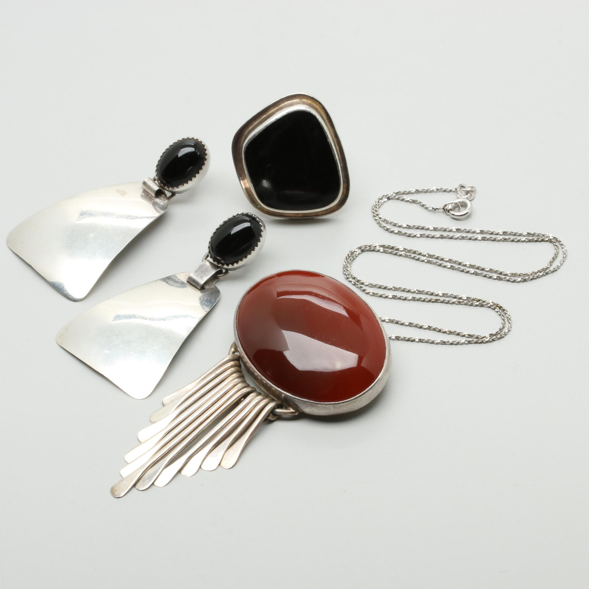 Sterling Silver Carnelian, Black Onyx, and Glass Jewelry Including Mexican