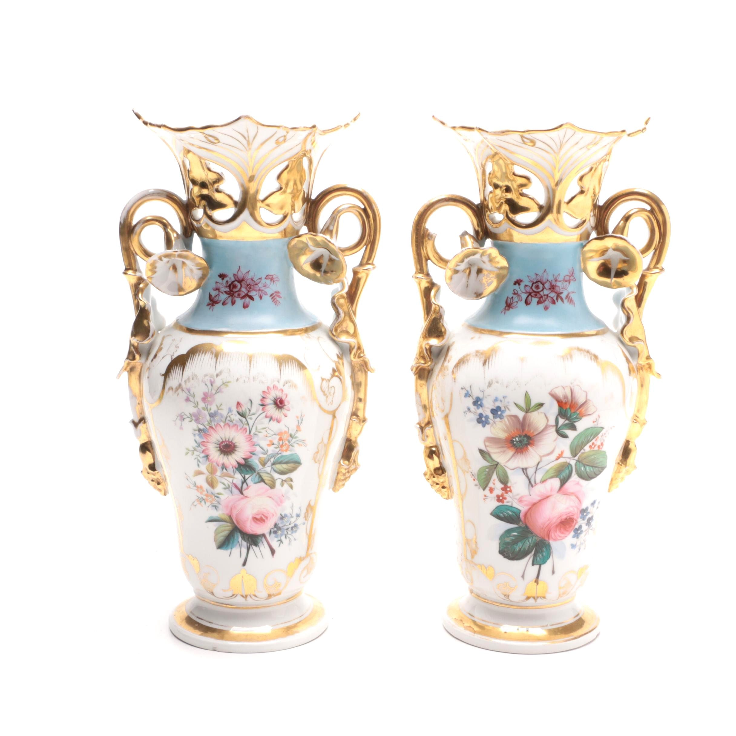 Pair of Hand-Painted Porcelain Vases