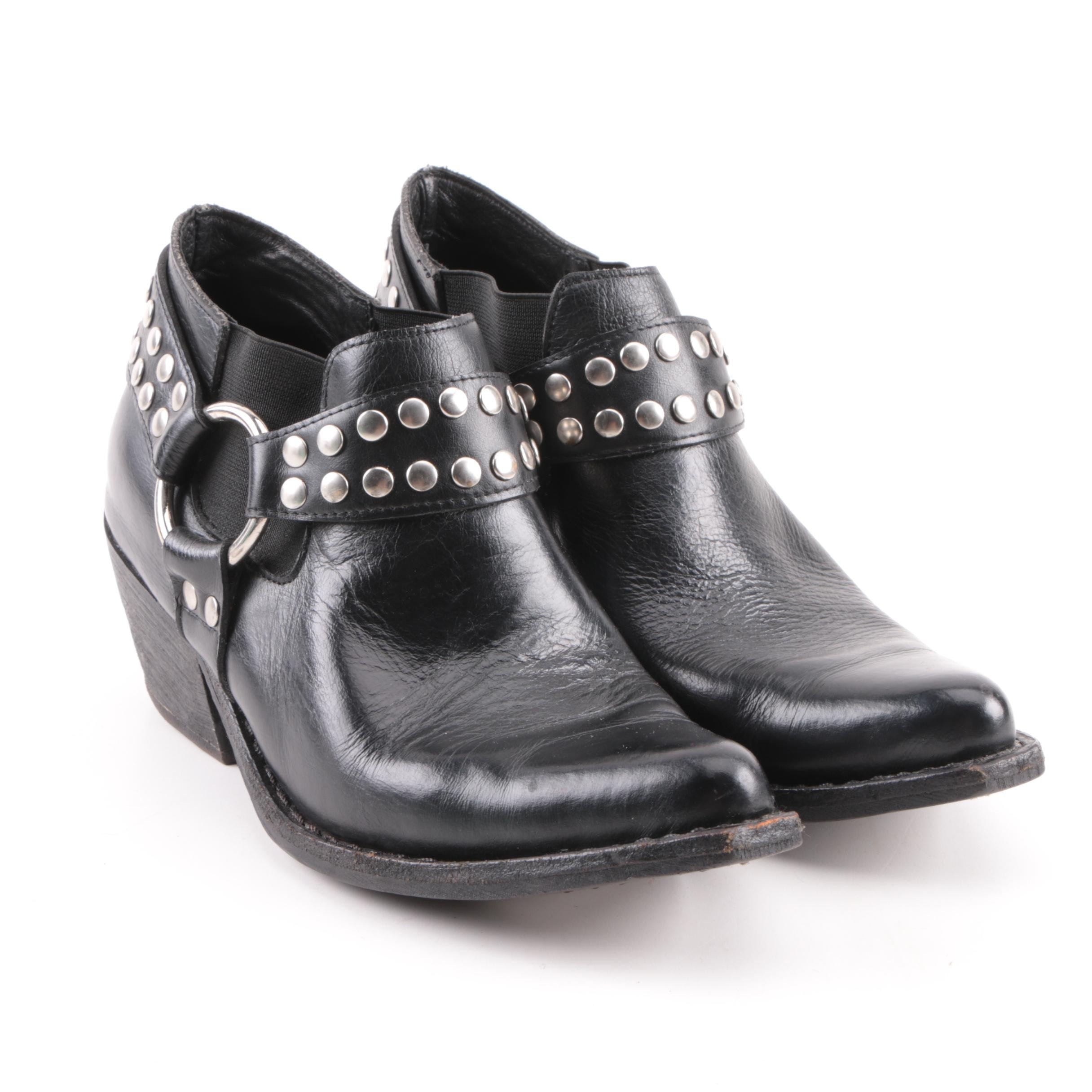 Women's Jeffrey Campbell Black Leather Harness Strap Booties