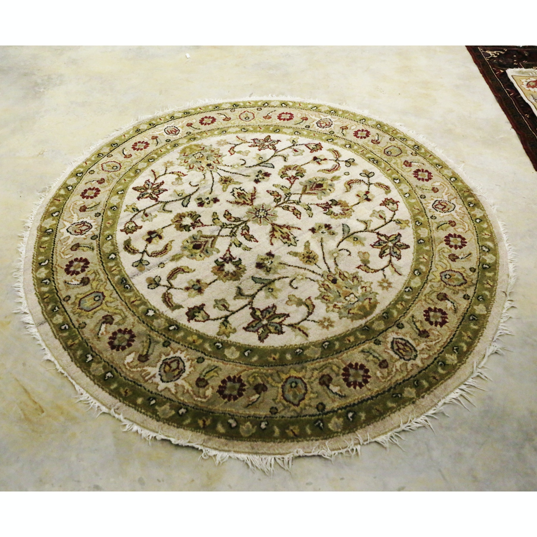 Hand-Knotted Indo-Persian Round Wool Area Rug
