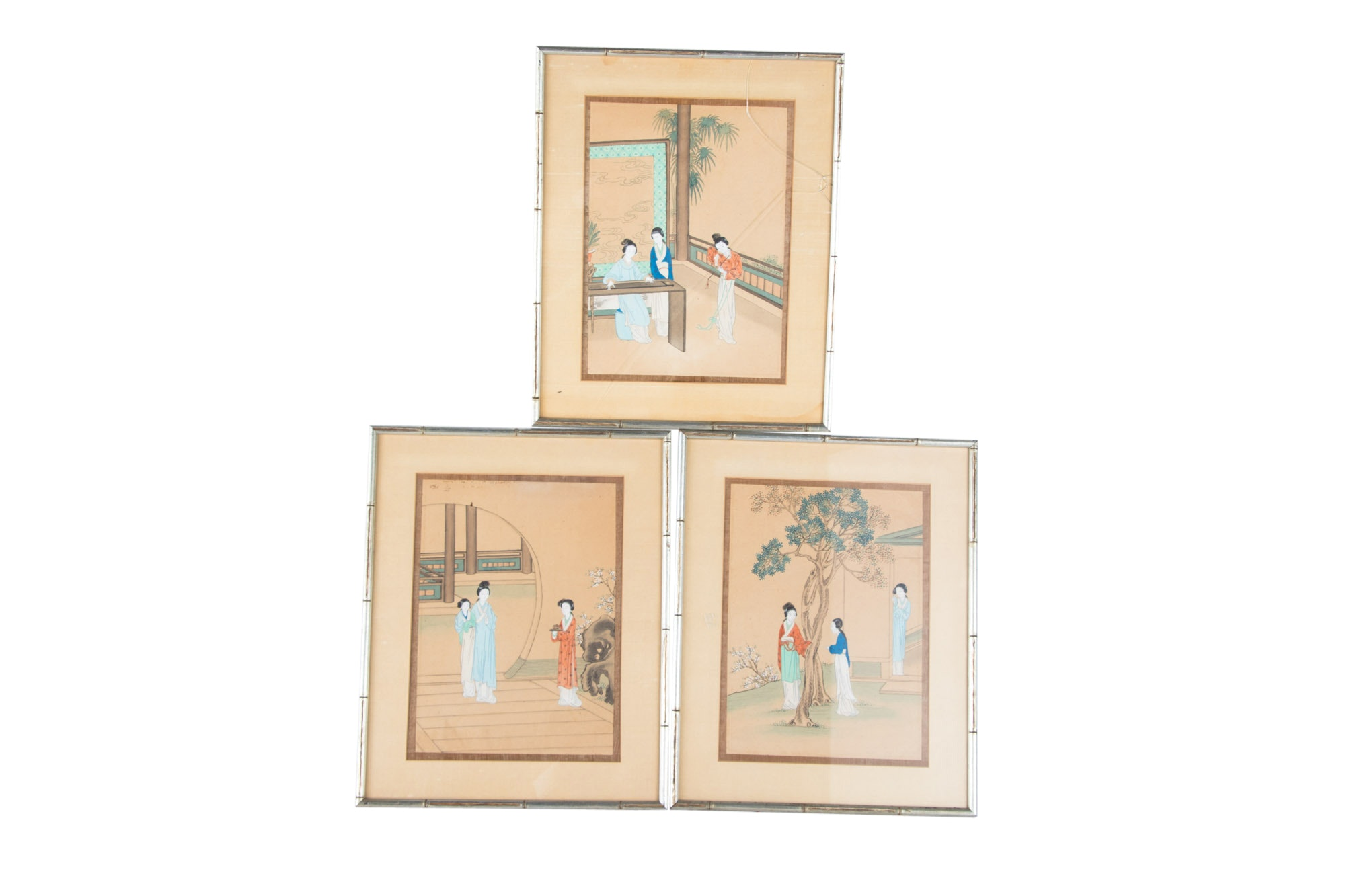 Antique 19th Century Chinese Hand-Colored Woodblock Prints