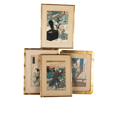 Japanese Ukiyo-e Woodblock Prints including Kunikage, Kunisada, and Kuniyoshi
