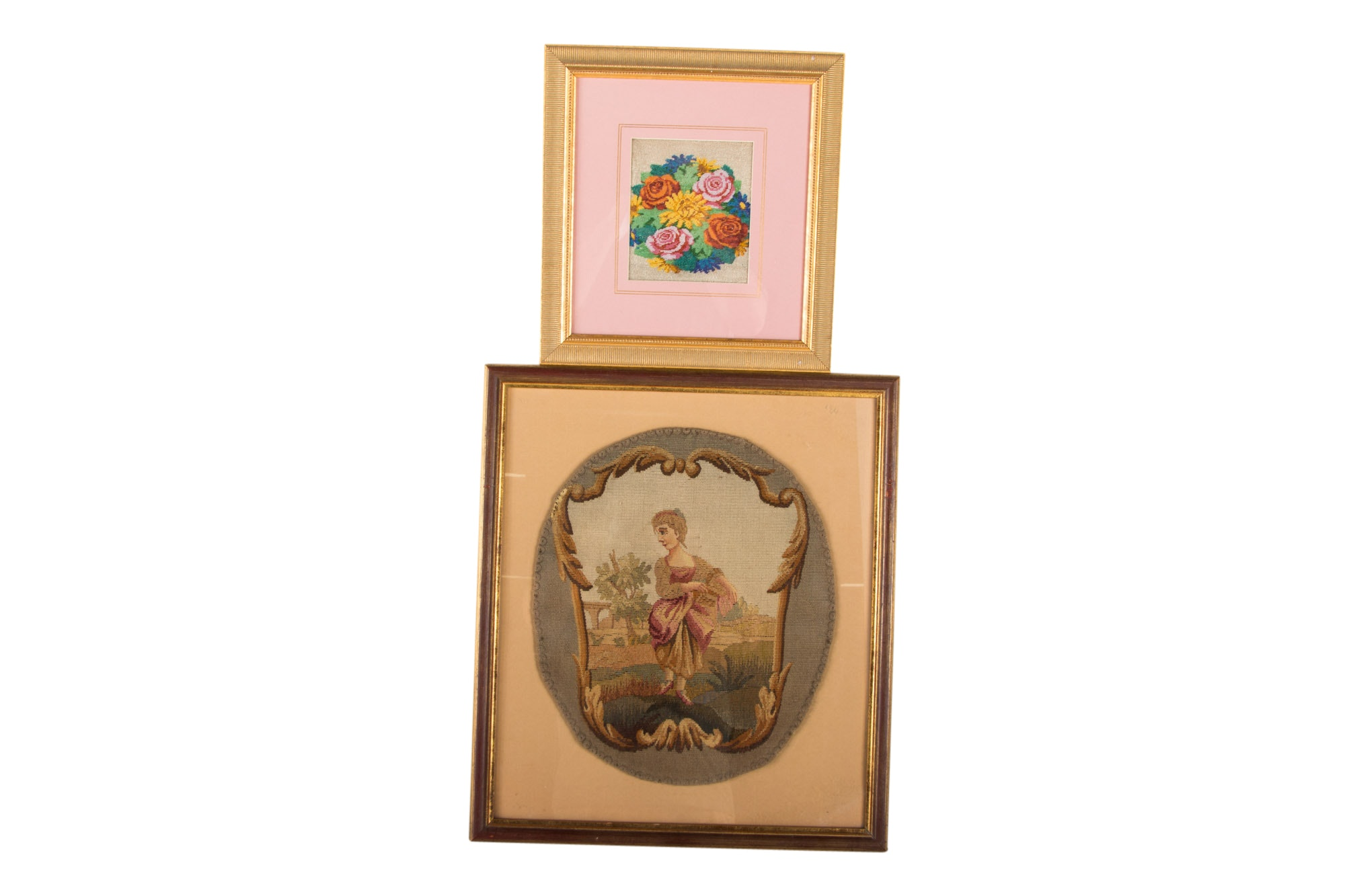 Two framed needlepoint panels, 20th Century