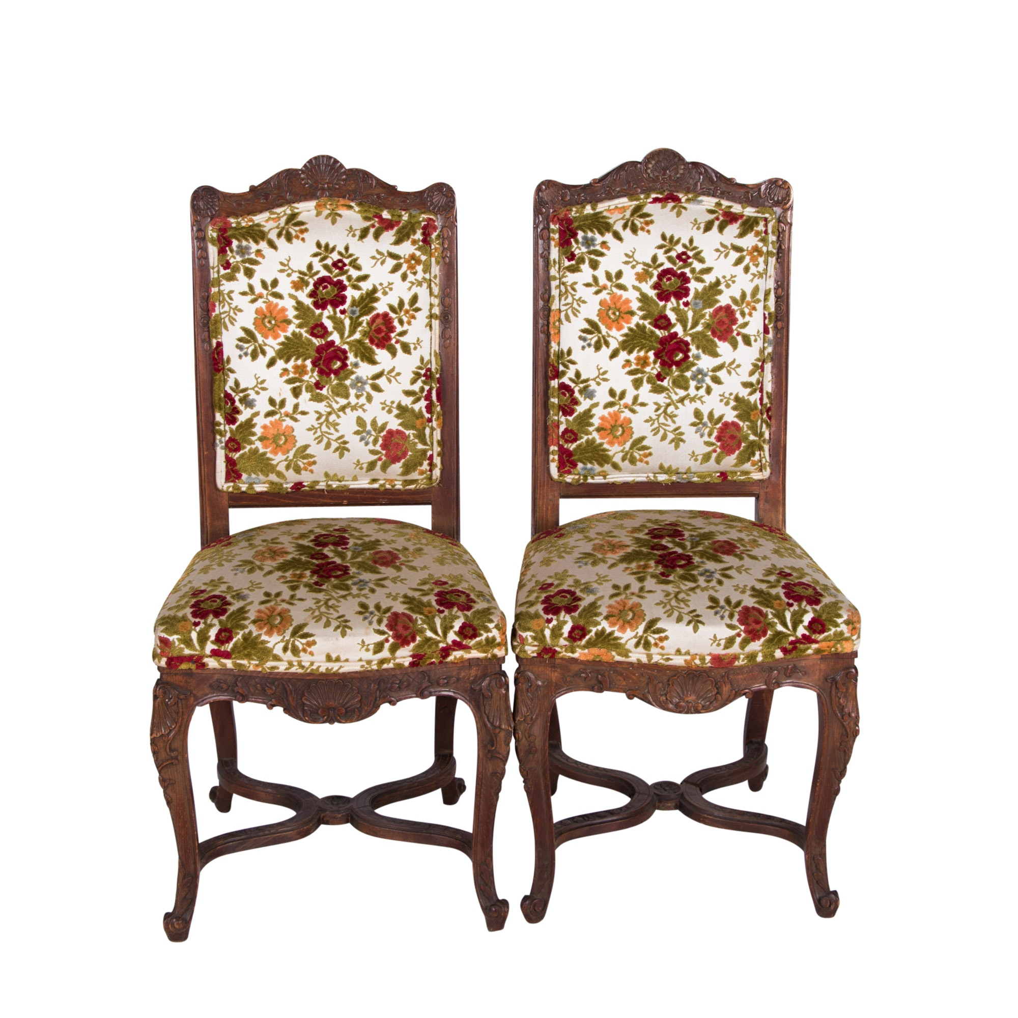 Pair of Regence Style Carved Beech Side Chairs, Circa 1900
