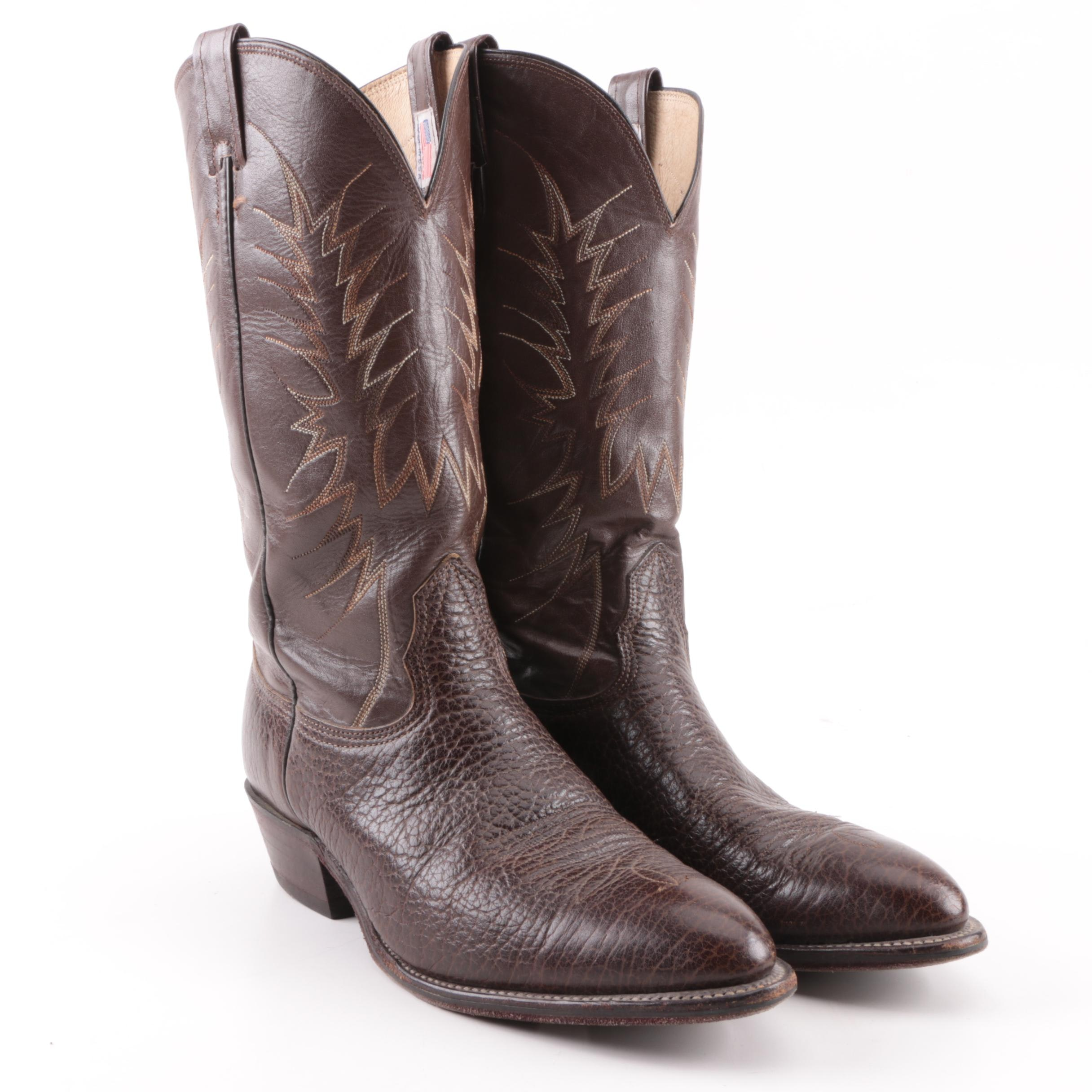 Men's Vintage Nocona Brown Leather Cowboy Boots