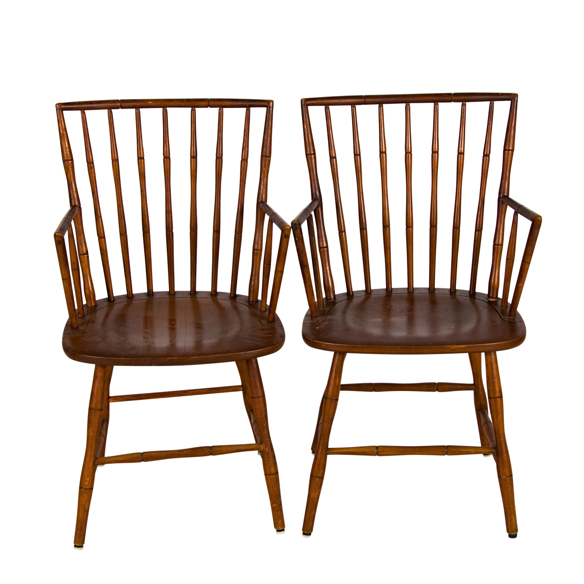 Pair of Windsor Style Maple Stick-Back Armchairs, 20th Century