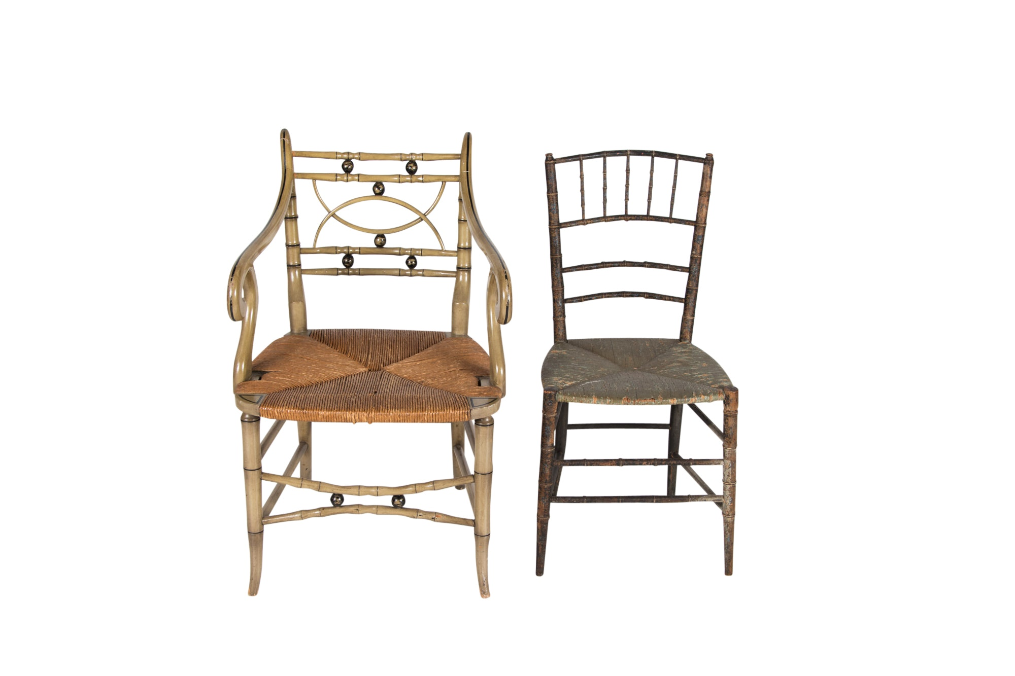 Victorian Chinoiserie Side Chair, Circa 1880, and Vintage Regency Style Armchair