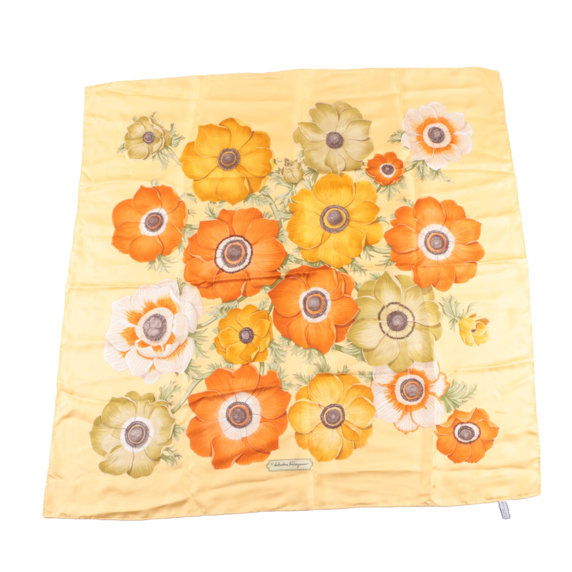Women's Salvatore Ferragamo Yellow Floral Print Silk Scarf
