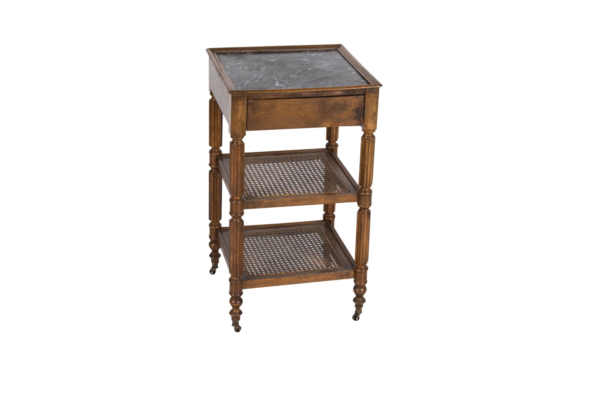 Louis Philippe Style Walnut and Marble Top Side Table, 20th Century