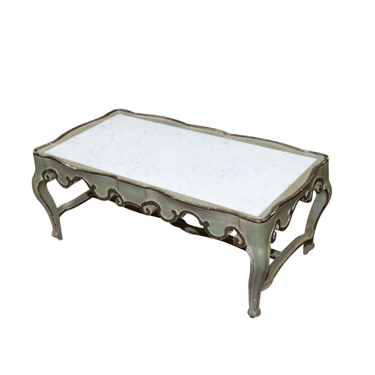 Rococo Style Painted and Parcel-Gilt Coffee Table with Marble Top, 20th Century