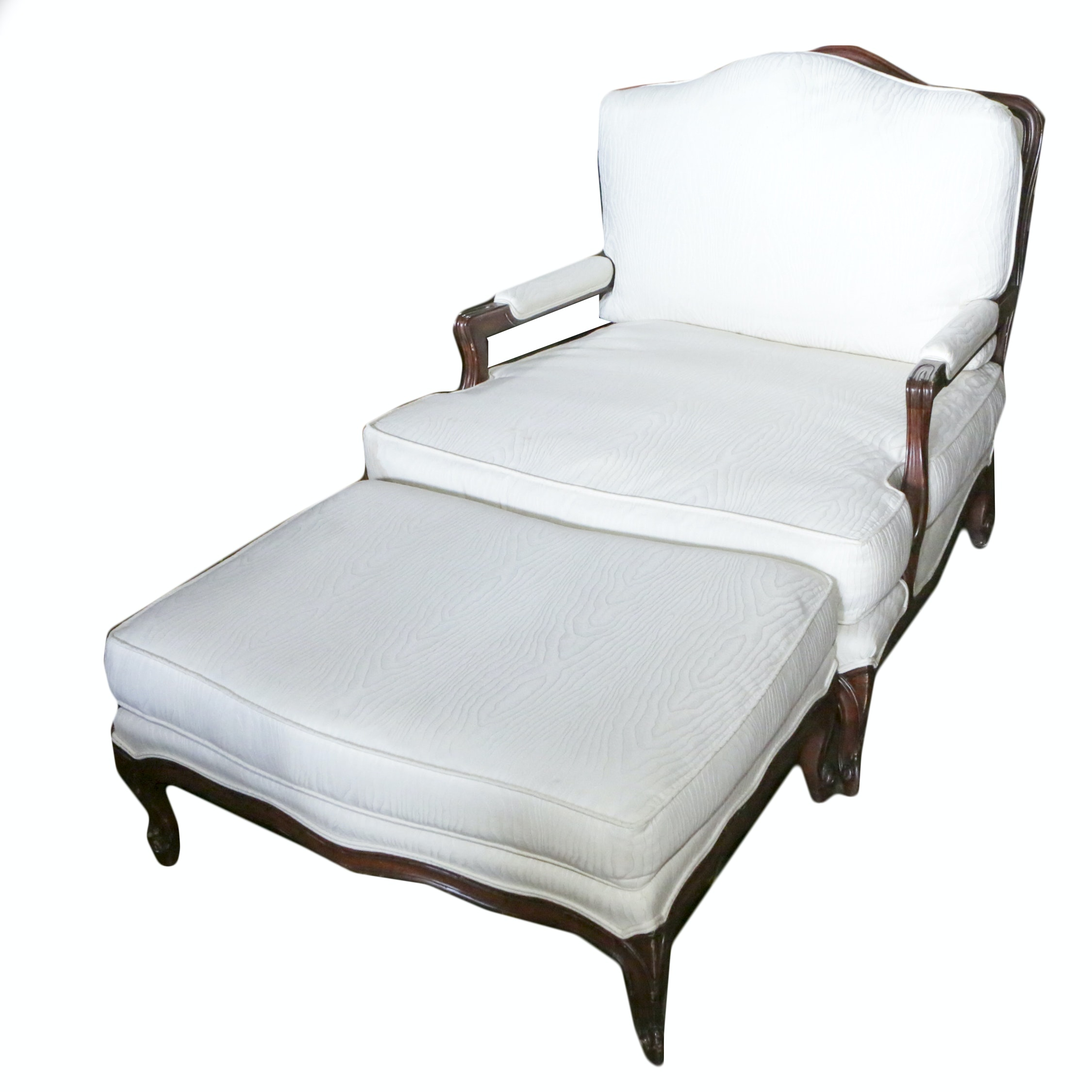 French Provincial Style White Upholstered Armchair with Ottoman