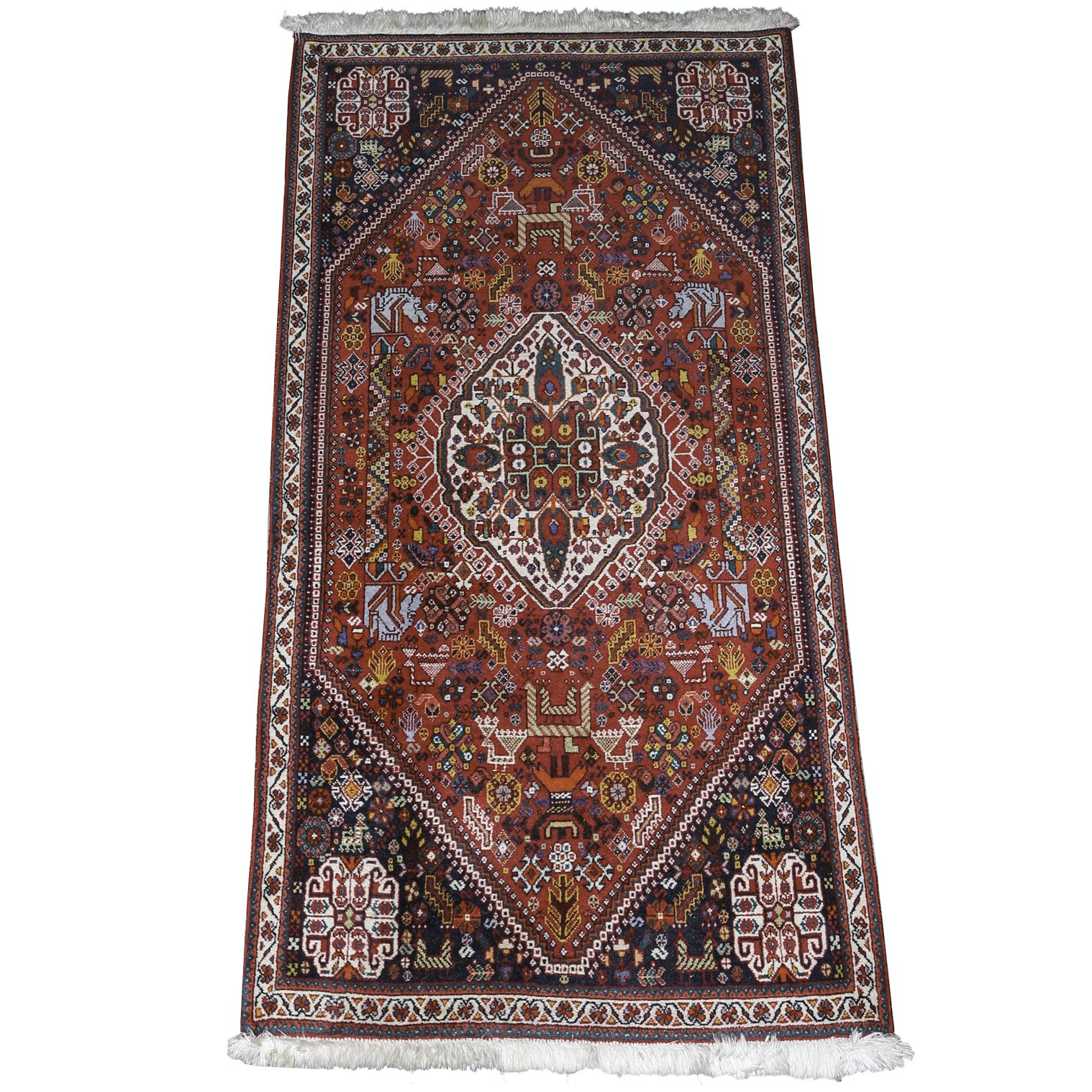 Vintage Hand-Knotted Indo-Persian Qashqai Accent Rug