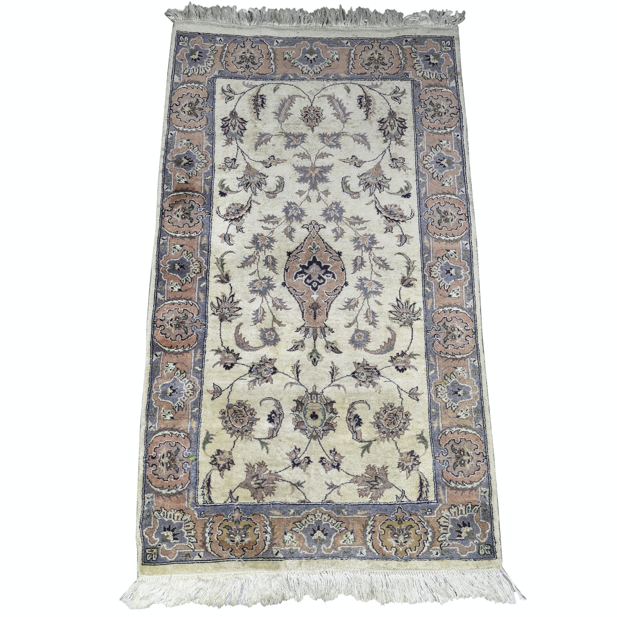 Vintage Hand-Knotted Indo-Persian Wool Accent Rug
