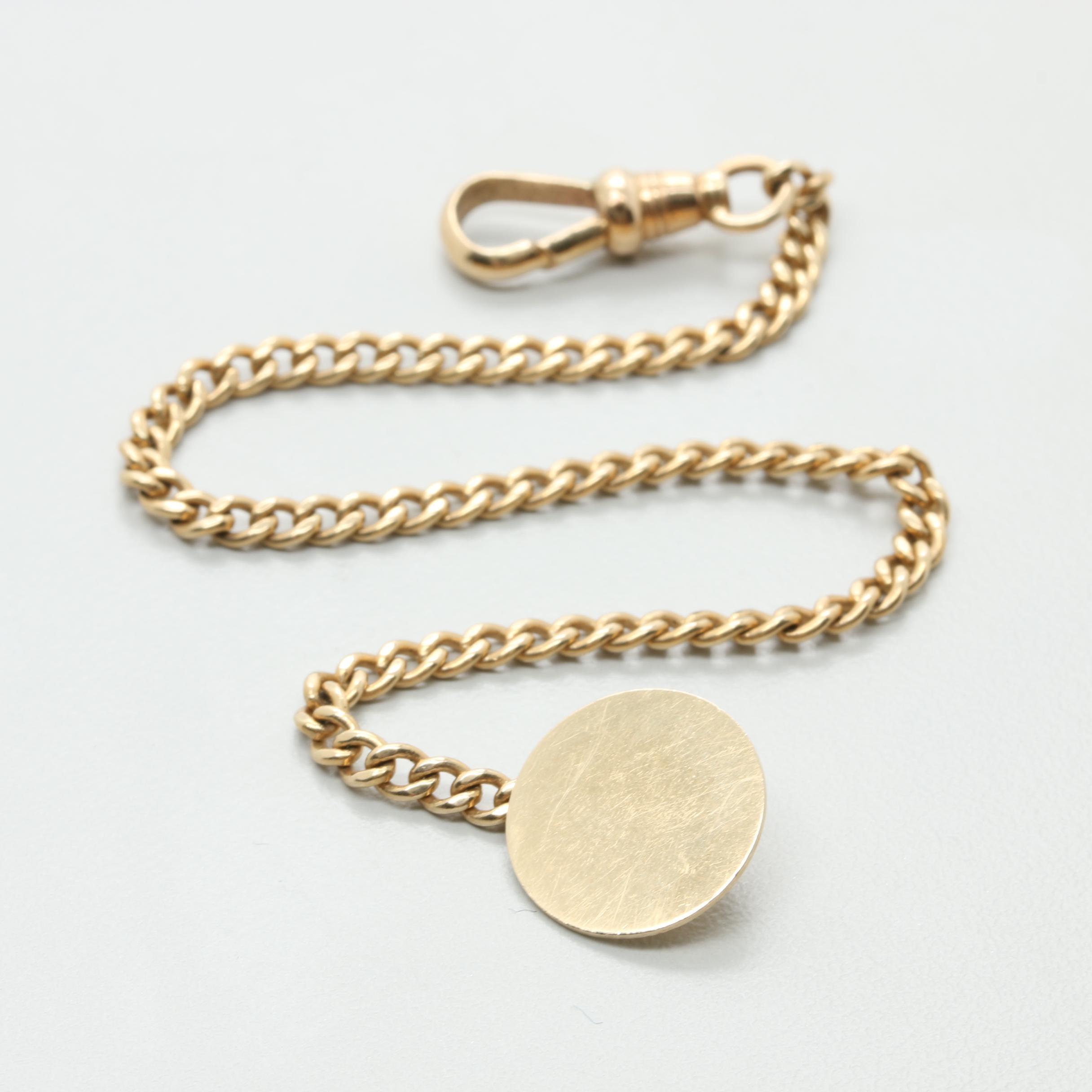 14K Yellow Gold Watch Chain