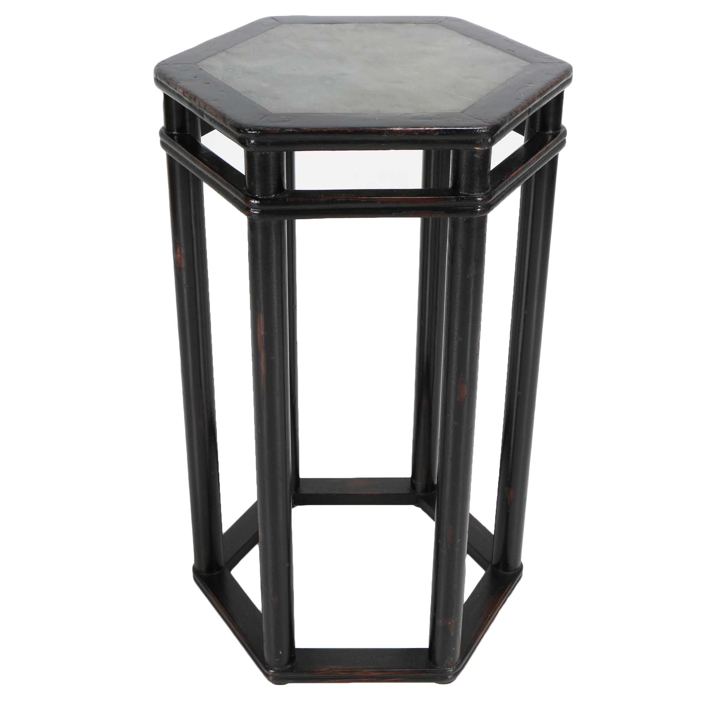 Stone Top Hexagonal Counter Height Accent Table