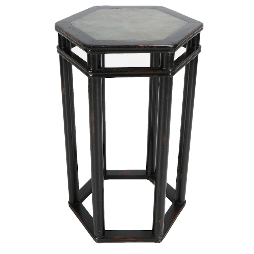 Stone Top Hexagonal Counter Height Accent Table EBTH - Stone top counter height table