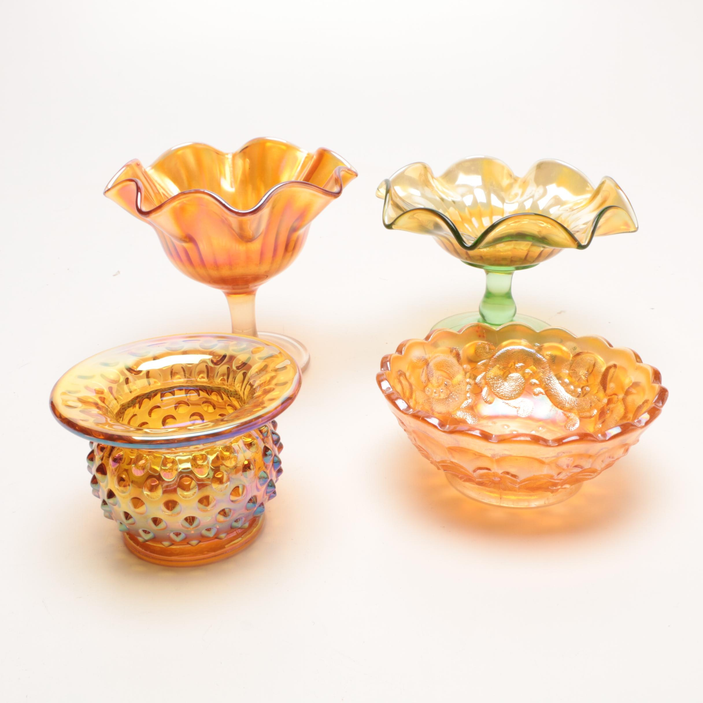 Fenton Carnival Glass Compotes, Bowl and Small Spittoon