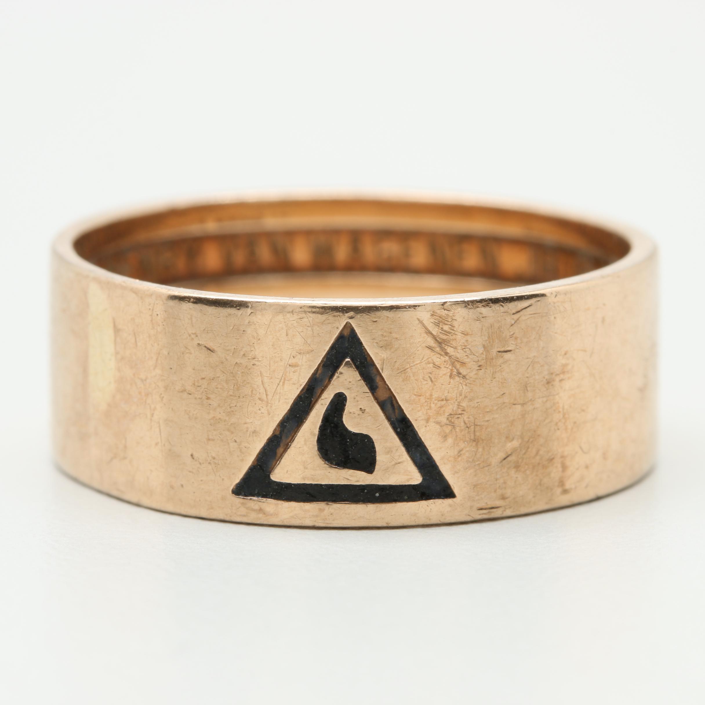 10K Yellow Gold Enamel 32nd Degree Free Mason Ring