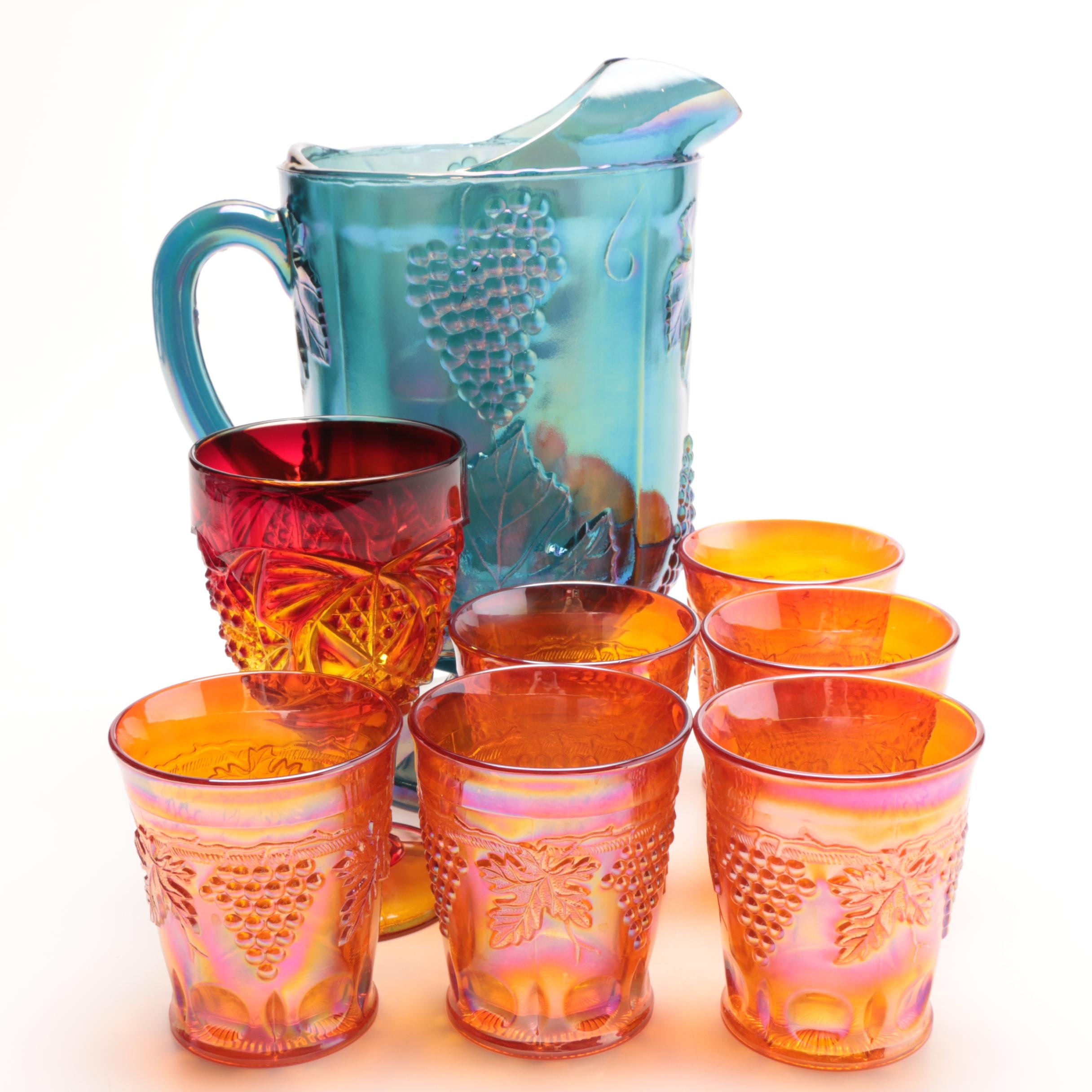 """Indiana Glass """"Harvest Grape"""" Pitcher Plus Tumblers and a Goblet"""